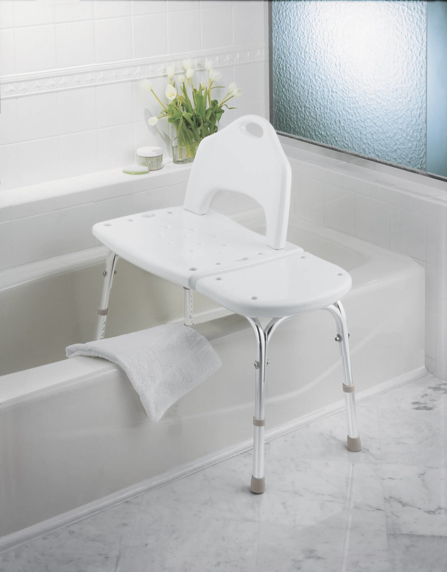 Moen CSIDN7065 Glacier Adjustable Transfer Bench with Seat Back from ...