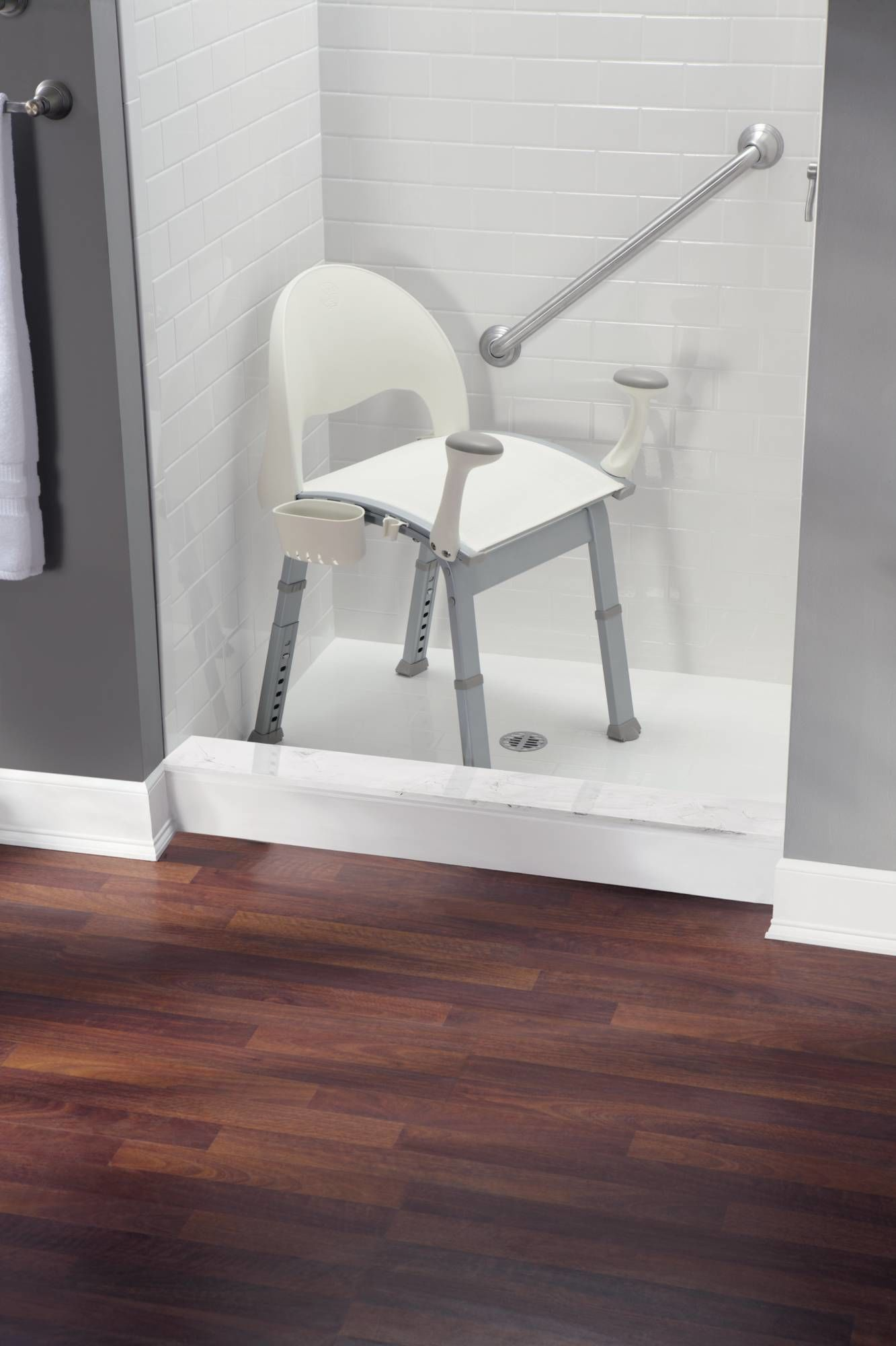 Moen CSIDN7100 Glacier Adjustable Shower Seat with Seat Back and Arm ...