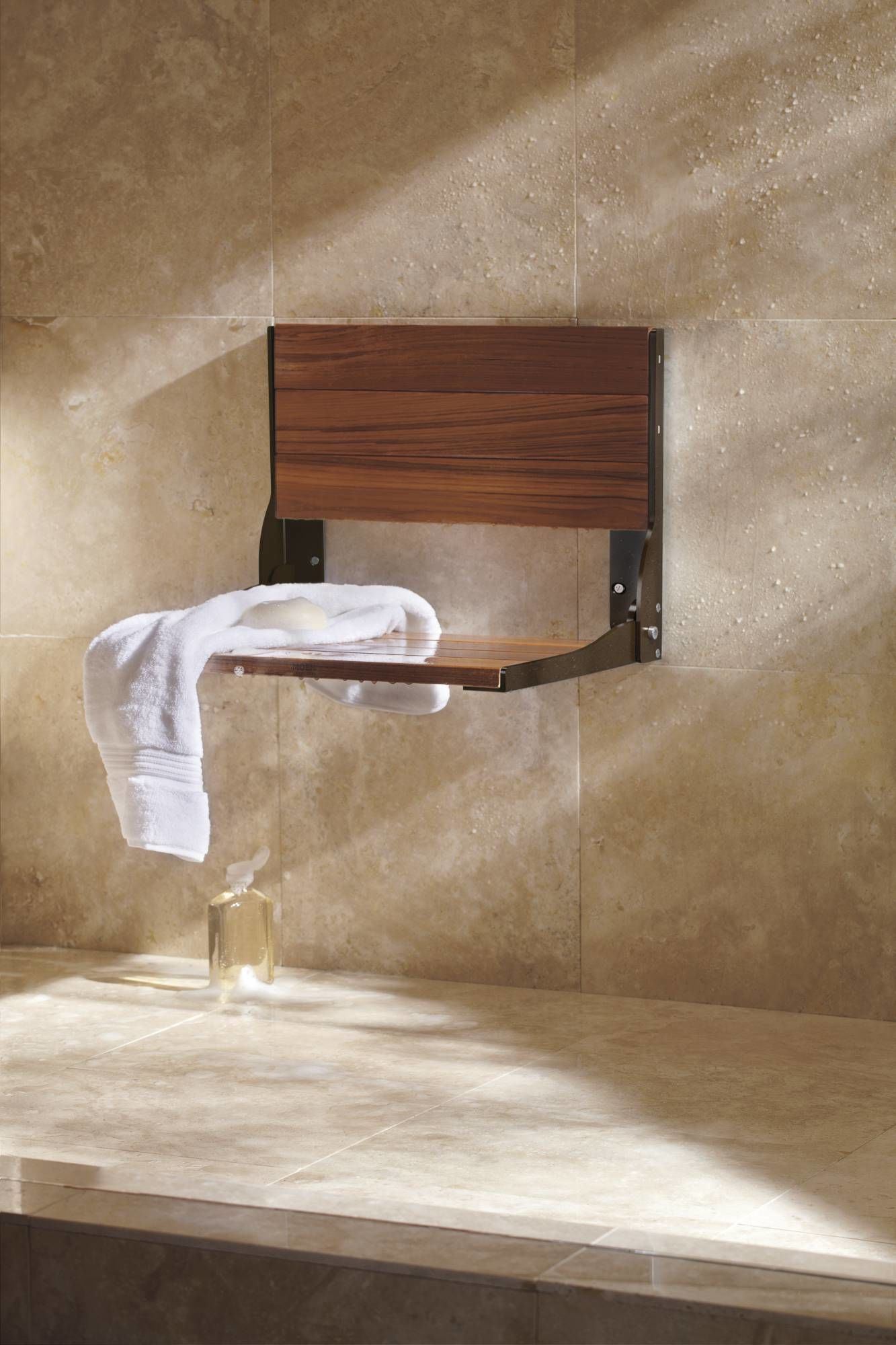 Moen CSIDN7110 Solid Teak Wood Wall Mounted Wood Shower Seat from ...