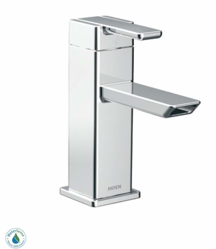 Moen S6700 Chrome Single Handle Single Hole Bathroom Faucet From The 90  Degree Collection (Valve Included)   Faucet.com