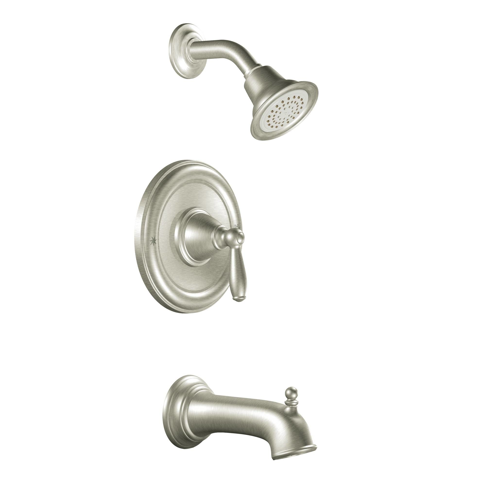 Moen T2153BN Brushed Nickel Posi-Temp Pressure Balanced Tub and ...