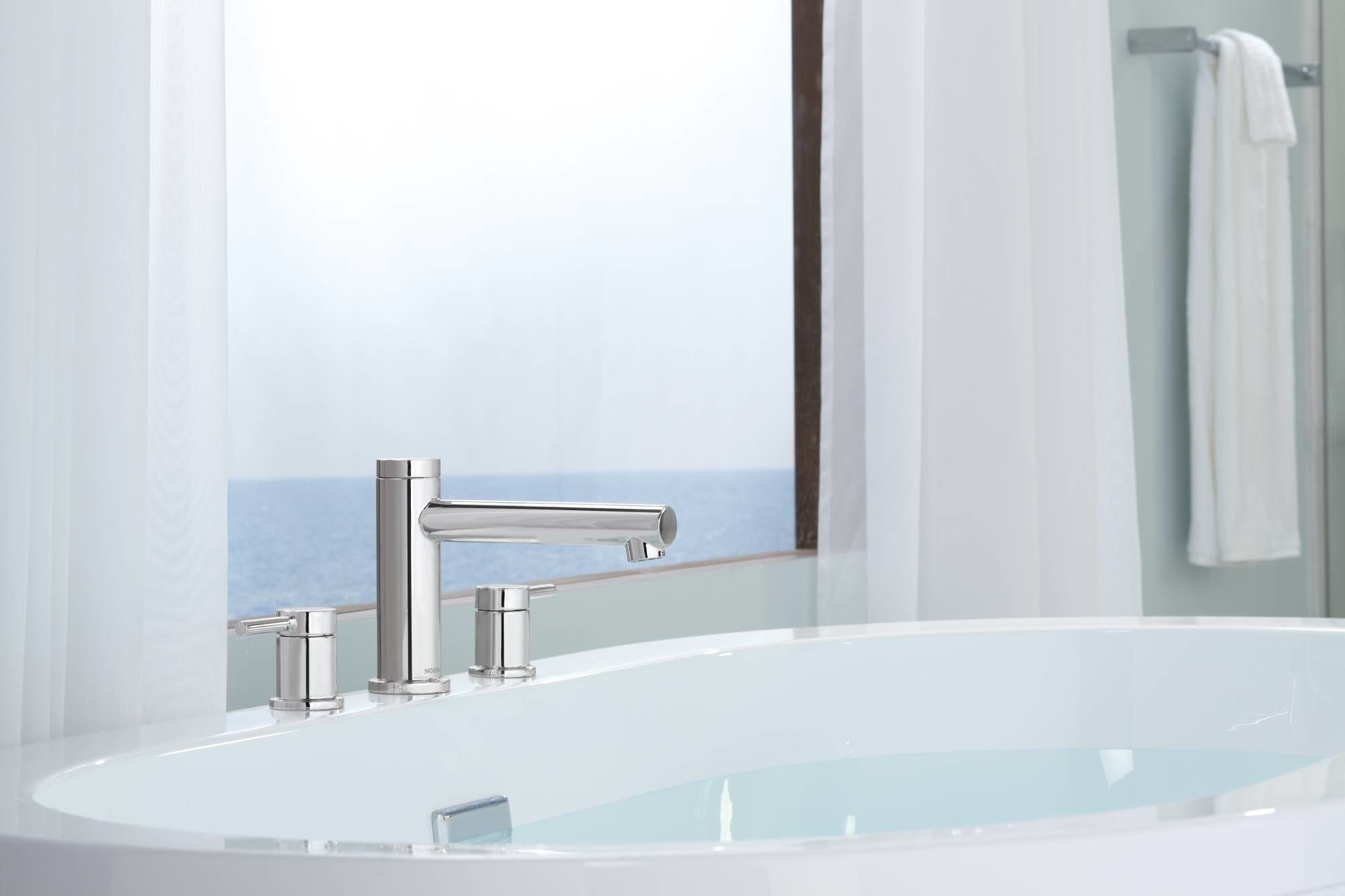 Moen T393BN Brushed Nickel Deck Mounted Roman Tub Faucet Trim from ...
