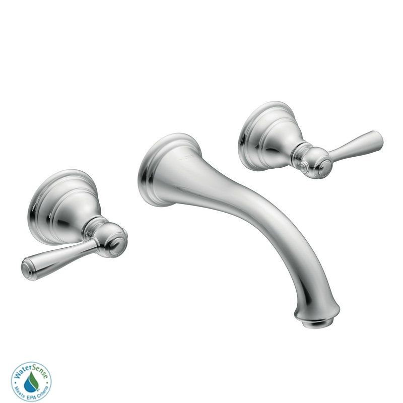 Moen T6107 Chrome Double Handle Wall Mounted Bathroom Faucet from ...