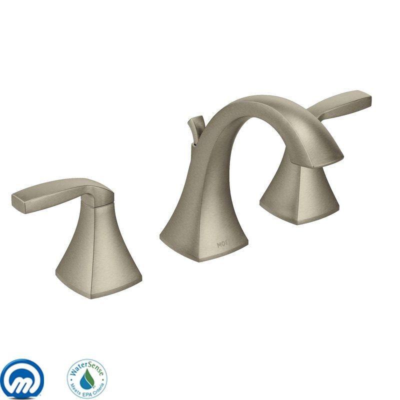 Moen T6905BN 9000 2PKG Brushed Nickel Double Handle Widespread Bathroom  Faucet From The Voss Collection (Pack Of 2, Valves Included)   Faucet.com