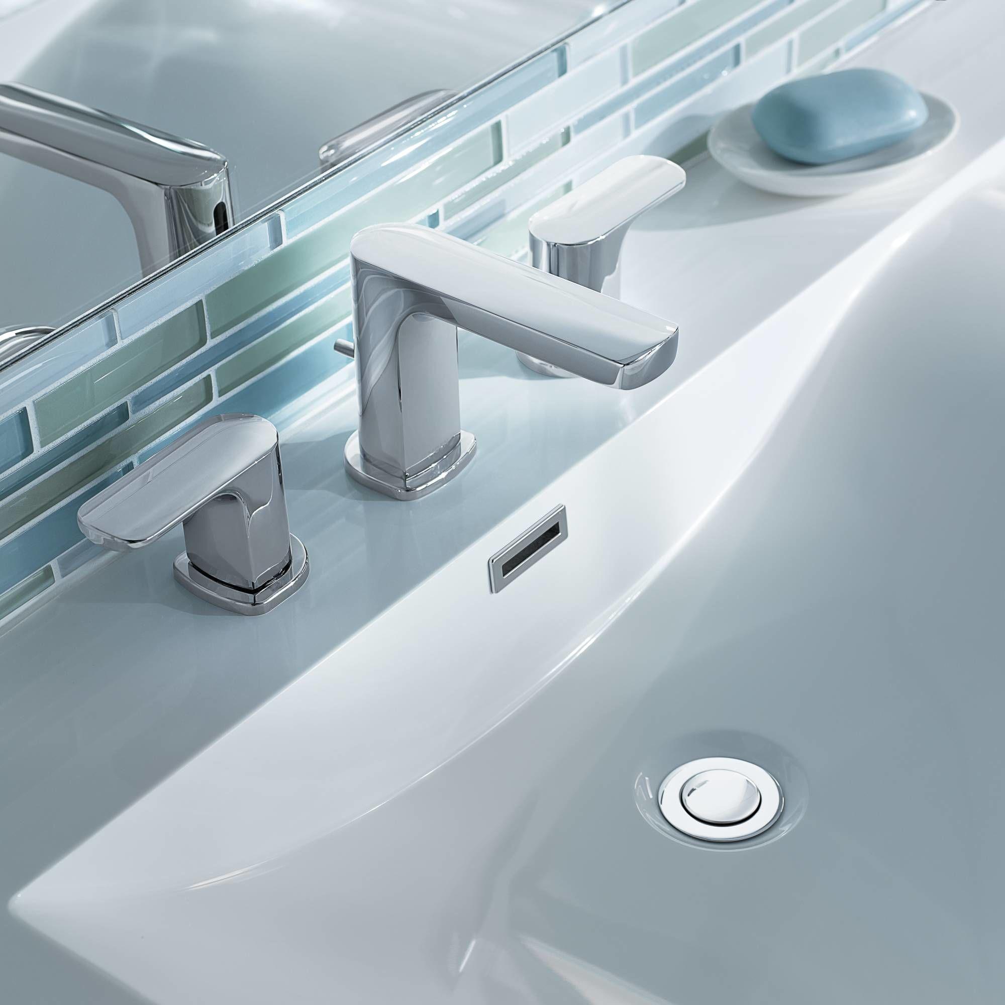 Moen T6920 Chrome Rizon Double-Handle Widespread Low Arc Bathroom ...