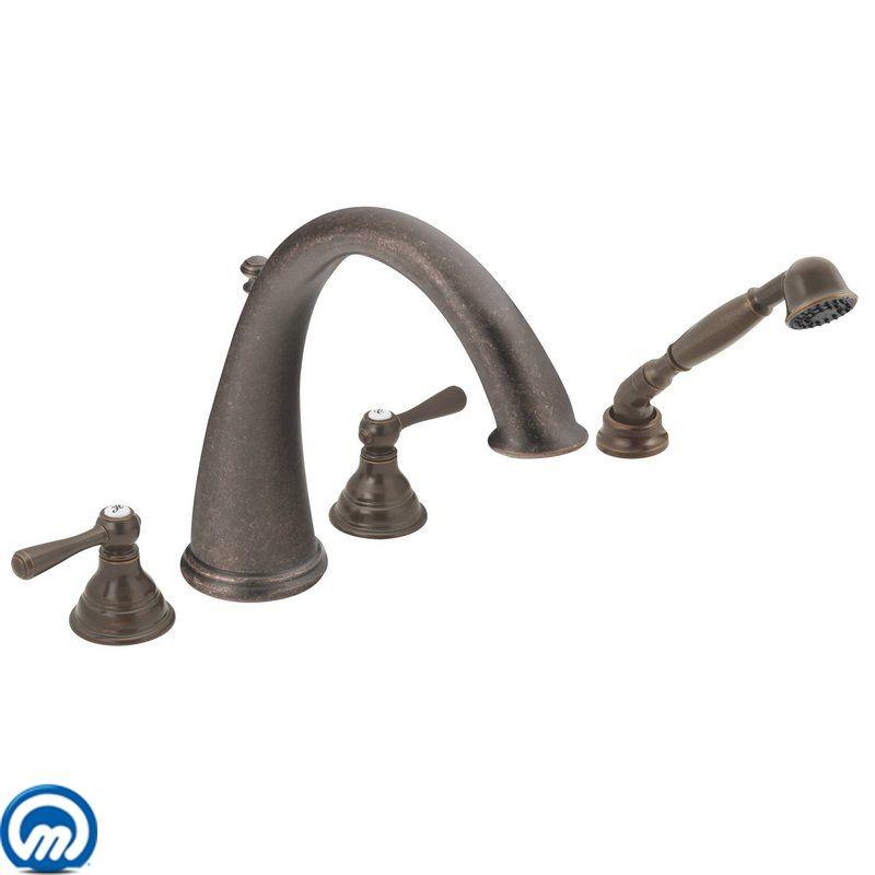 Moen T922BN Brushed Nickel Chrome Deck Mounted Roman Tub Faucet Trim ...