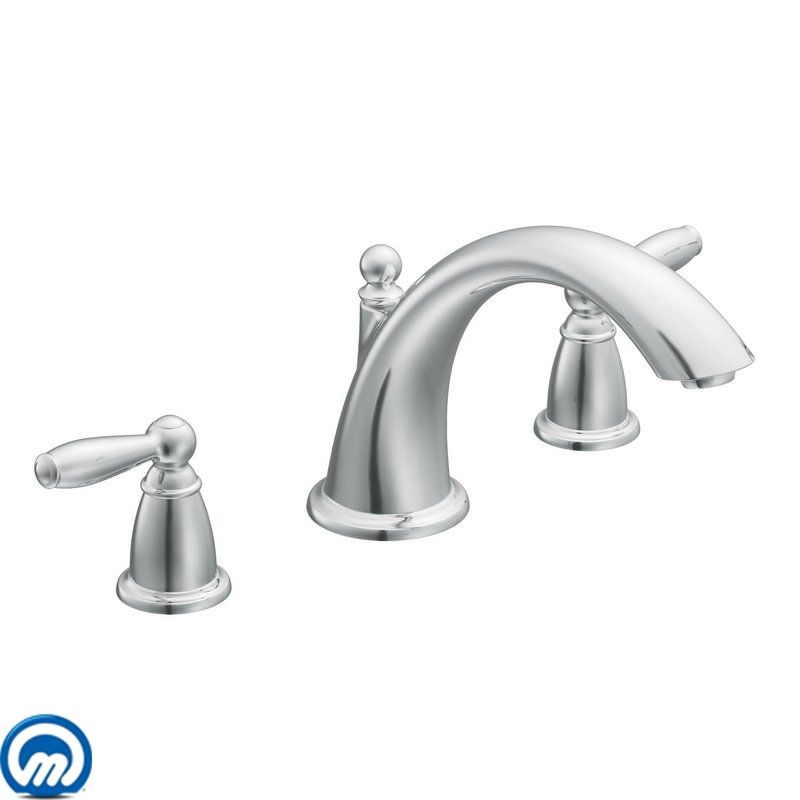 Moen T933bn Brushed Nickel Deck Mounted Roman Tub Filler Trim From The Brantford Collection Less Valve Faucet