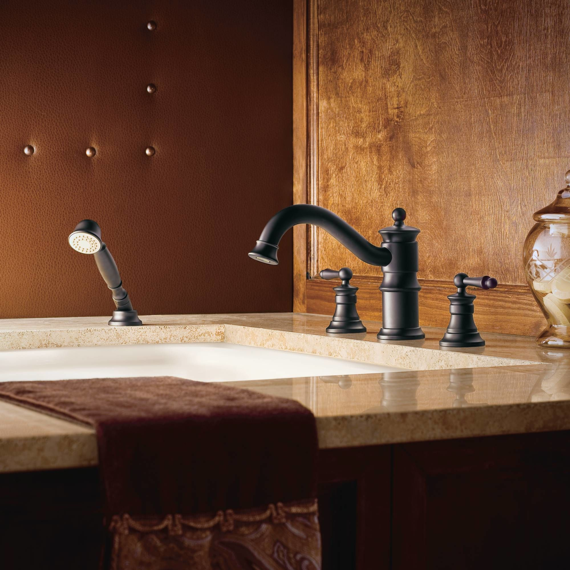 Moen Ts213orb Oil Rubbed Bronze Deck Mounted Roman Tub Faucet Trim With Personal Hand Shower And Built In Diverter From The Waterhill Collection Less