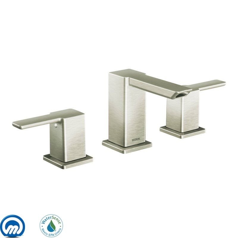 Moen Ts6720bn Brushed Nickel Double Handle Widespread Bathroom Faucet From The 90 Degree Collection