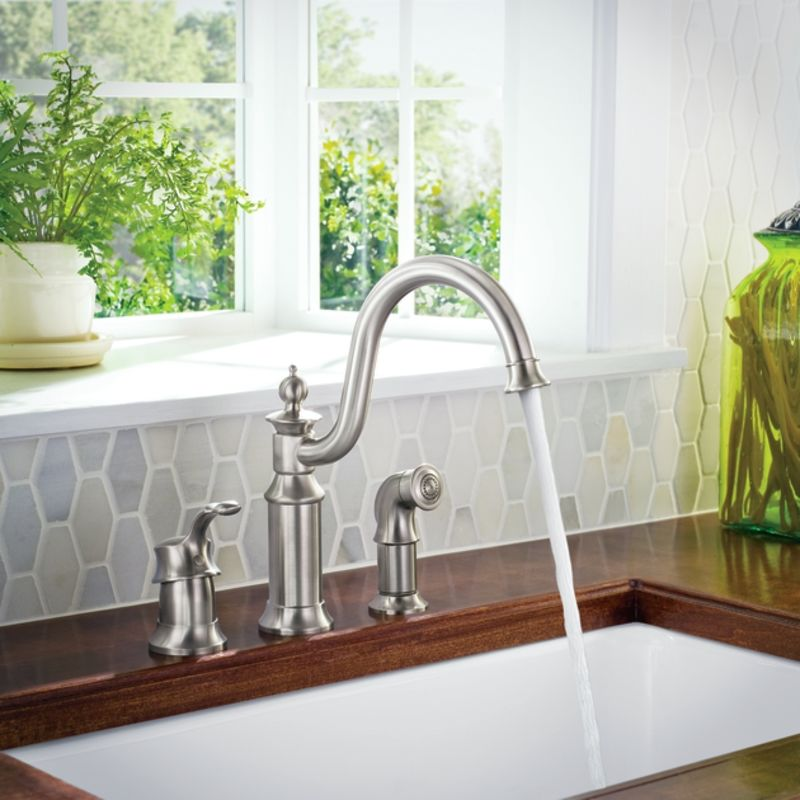 Moen S711SRS Spot Resist Stainless High-Arc Kitchen Faucet with Side ...