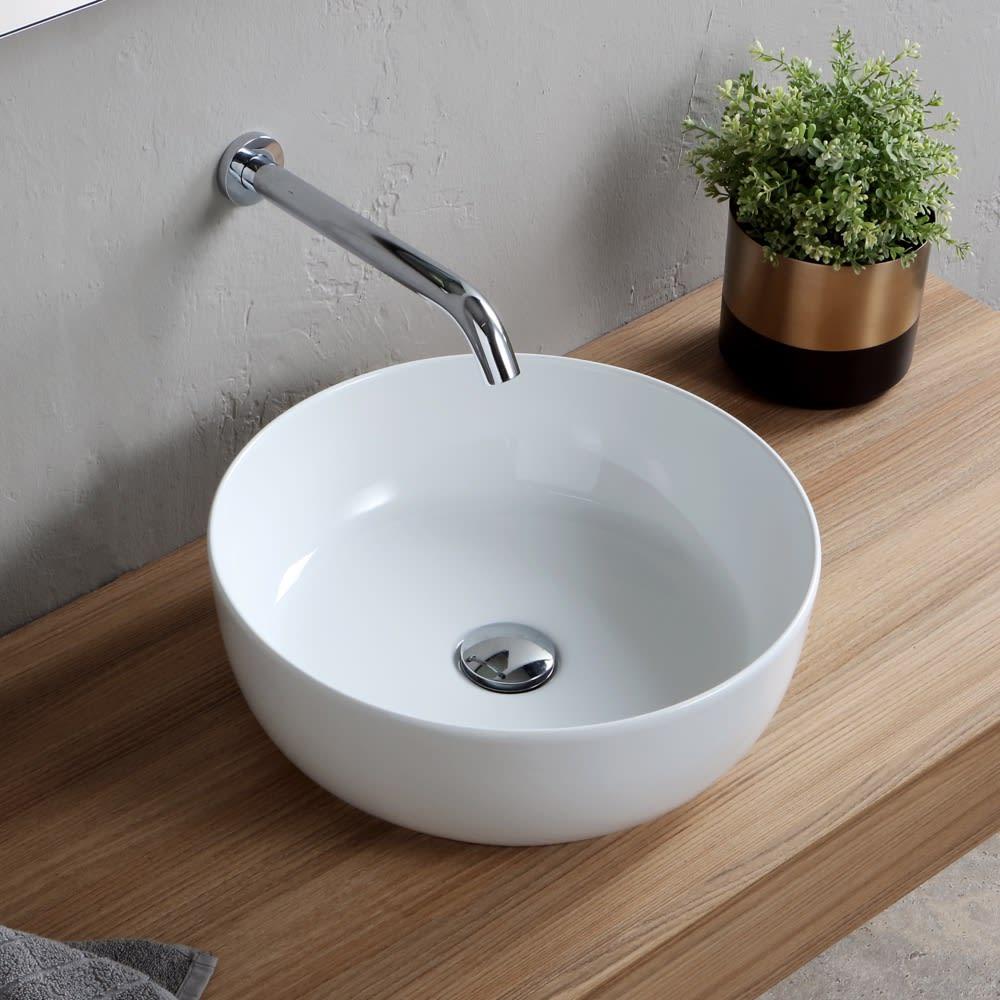 Nameeks Scarabeo 1807 No Hole White No Hole Scarabeo Glam 16 Circular Ceramic Vessel Bathroom Sink Faucet Com