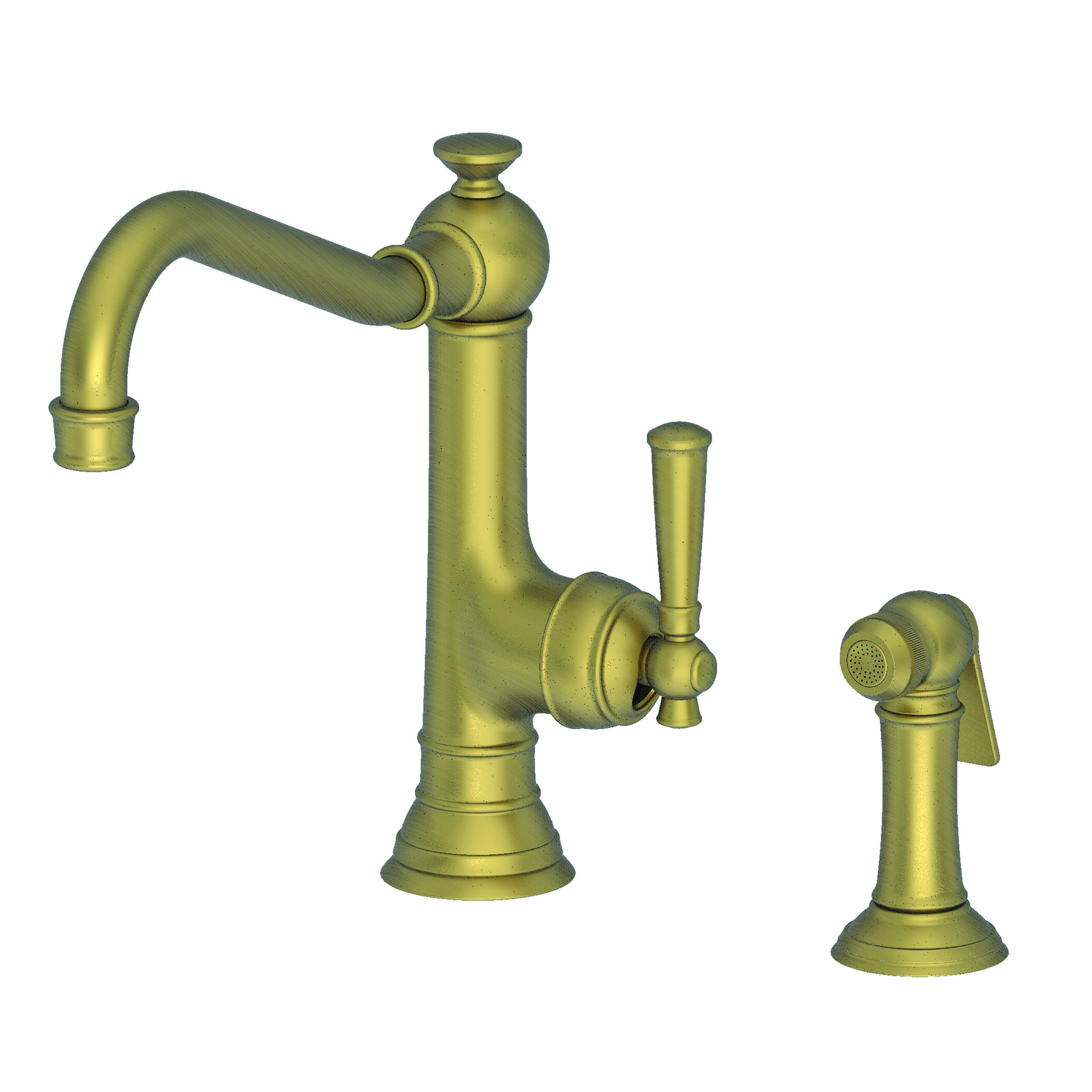 Awesome Newport Brass 2470 5313/06 Antique Brass Jacobean Single Handle Kitchen  Faucet With Side Spray   Faucet.com