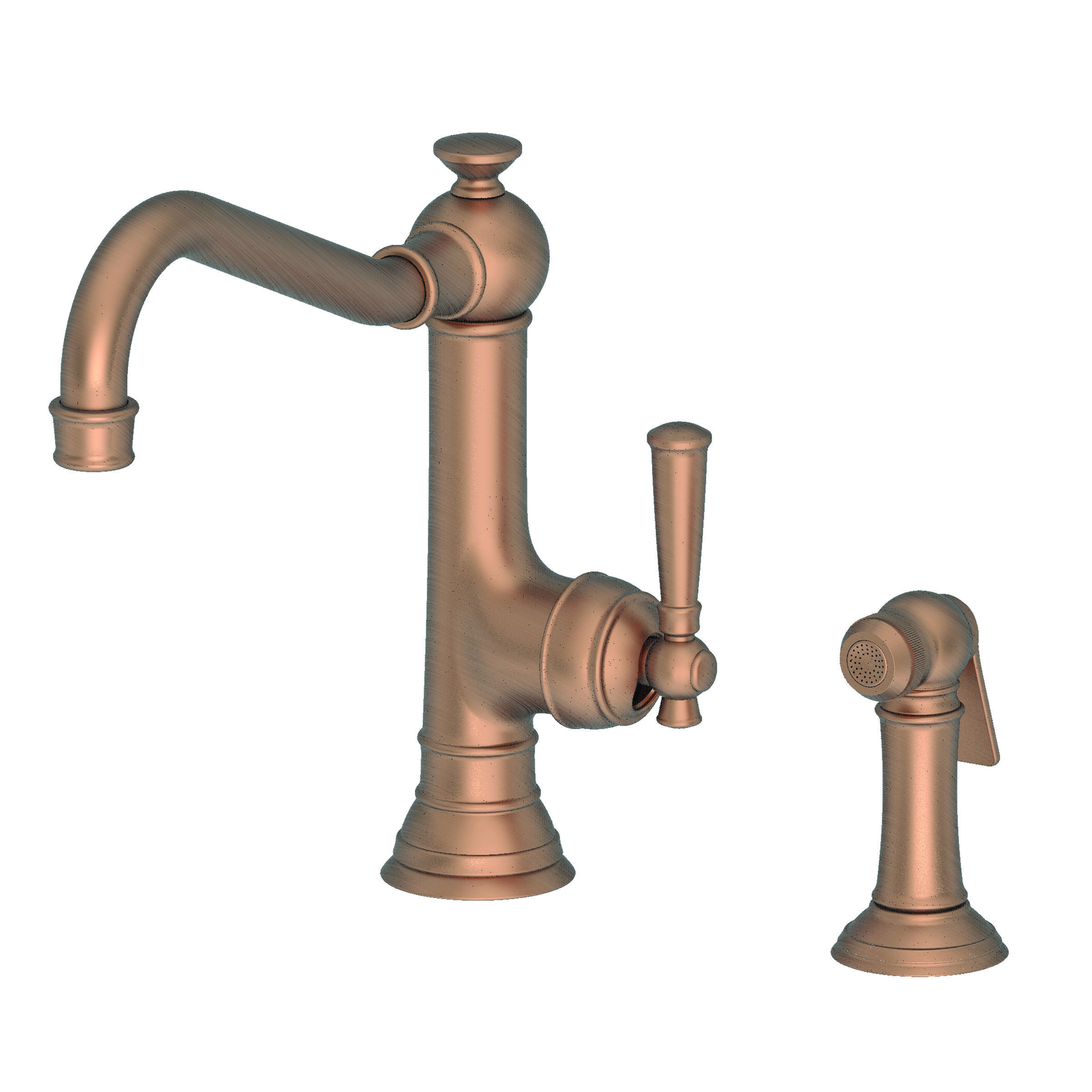 Newport Brass 2470 5313/06 Antique Brass Jacobean Single Handle Kitchen  Faucet With Side Spray   Faucet.com