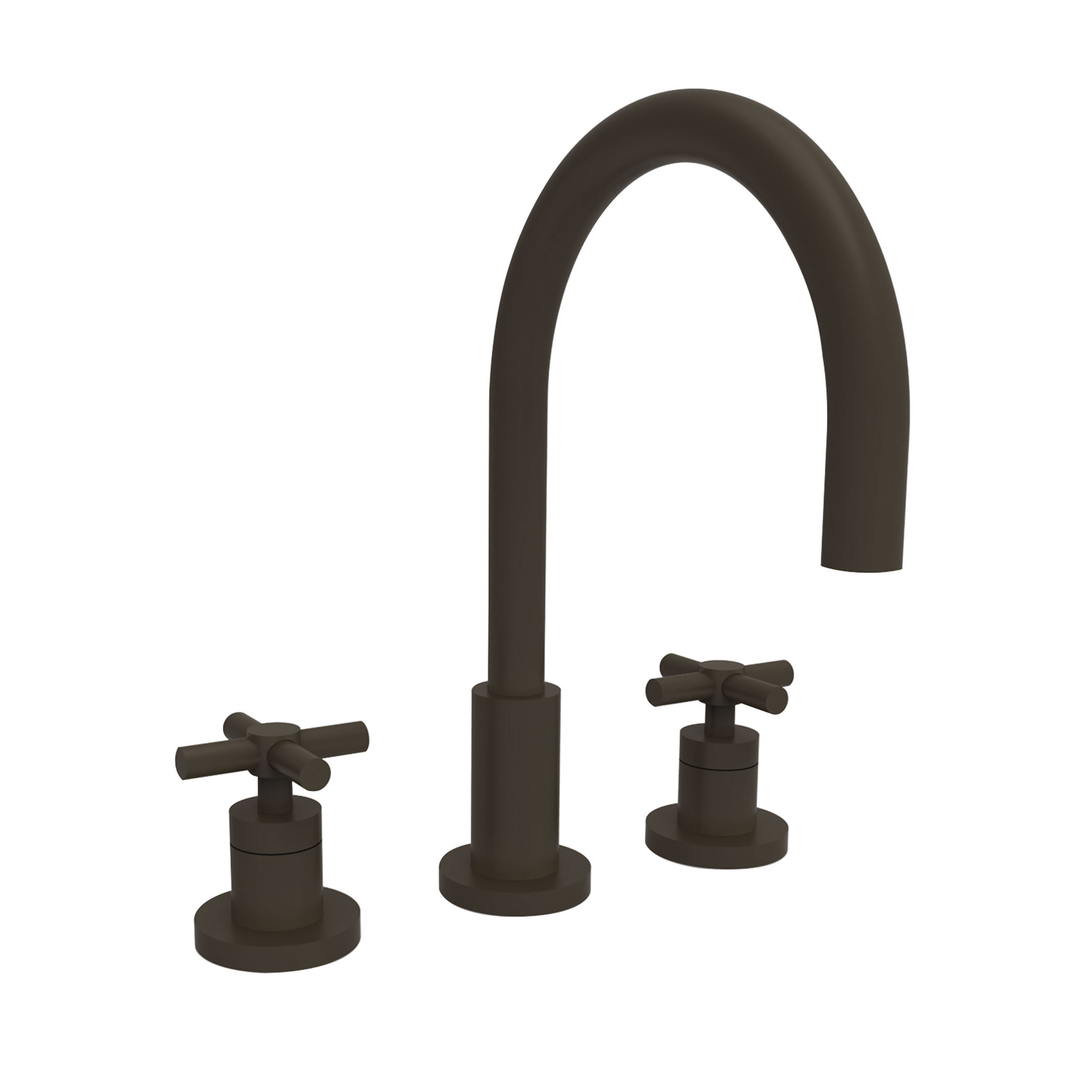 Modern gold and brass fixtures for the bathroom apartment therapy - Newport Brass 990 54 Gloss Black East Linear Double Handle Widespread Lavatory Faucet With Metal Cross Handles
