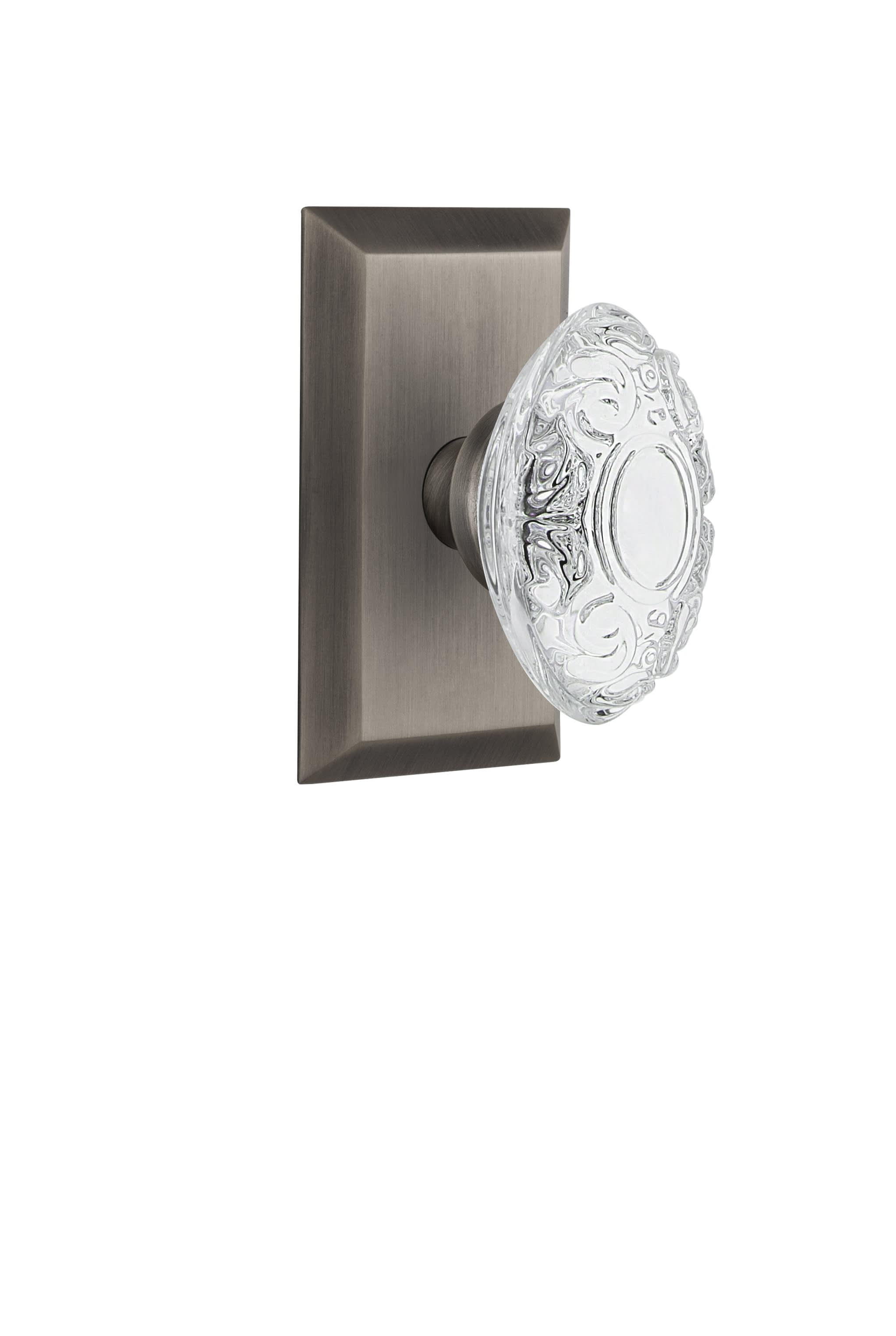 Nostalgic Warehouse 754903 Antique Pewter Vintage Crystal Victorian Passage Door Knob Set With Studio Rose And 2 3 8 Backset Faucetdirect Com
