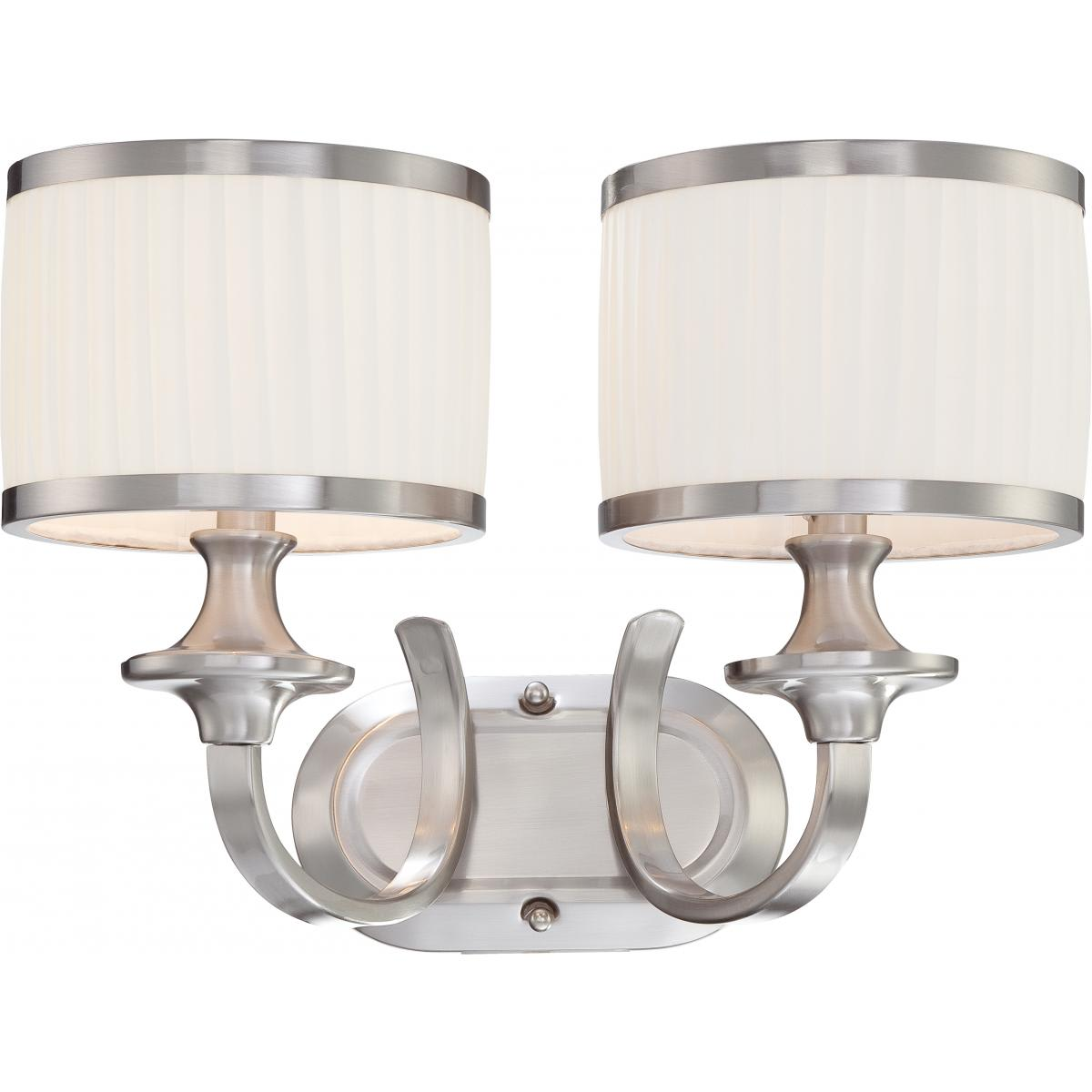 Nuvo Lighting 60 4732 Brushed Nickel Candice 2 Light 16 Wide Bathroom Vanity Light With Pleated Fabric Shades And Metal Accents Lightingdirect Com