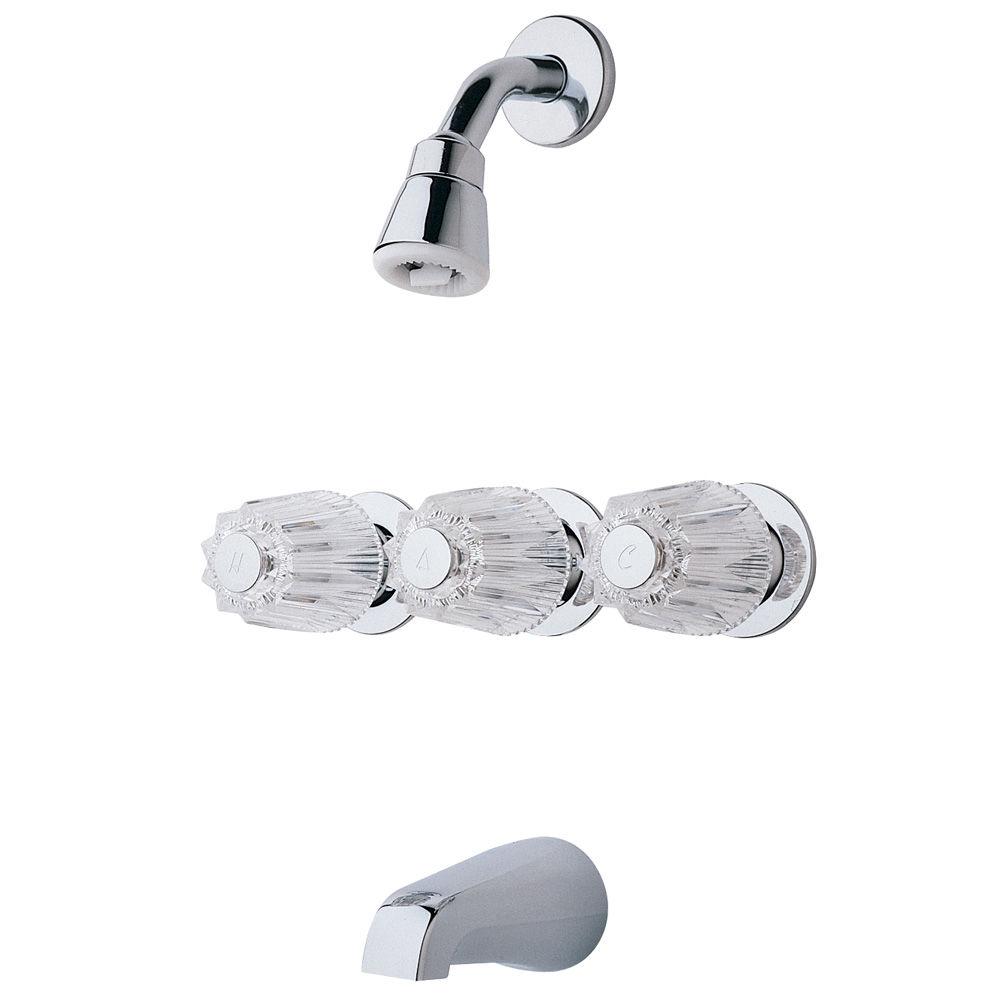 Pfister G01-1120 Polished Chrome 01 Series Triple Handle Tub and ...
