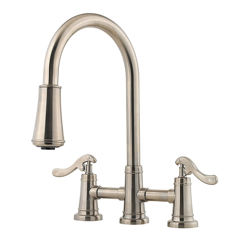 pfister lg531 ypk brushed nickel ashfield 2 handle pull down kitchen faucet with accudock sprayhead flex line supply lines and pfast connect technologies - Price Pfister Kitchen Faucet