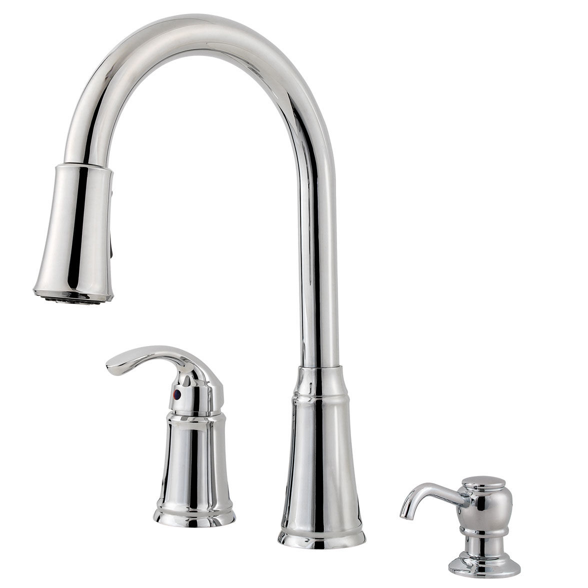 Pfister f wkp 650c polished chrome classic pullout spray professional kitchen faucet with soap dispenser faucetdirect com