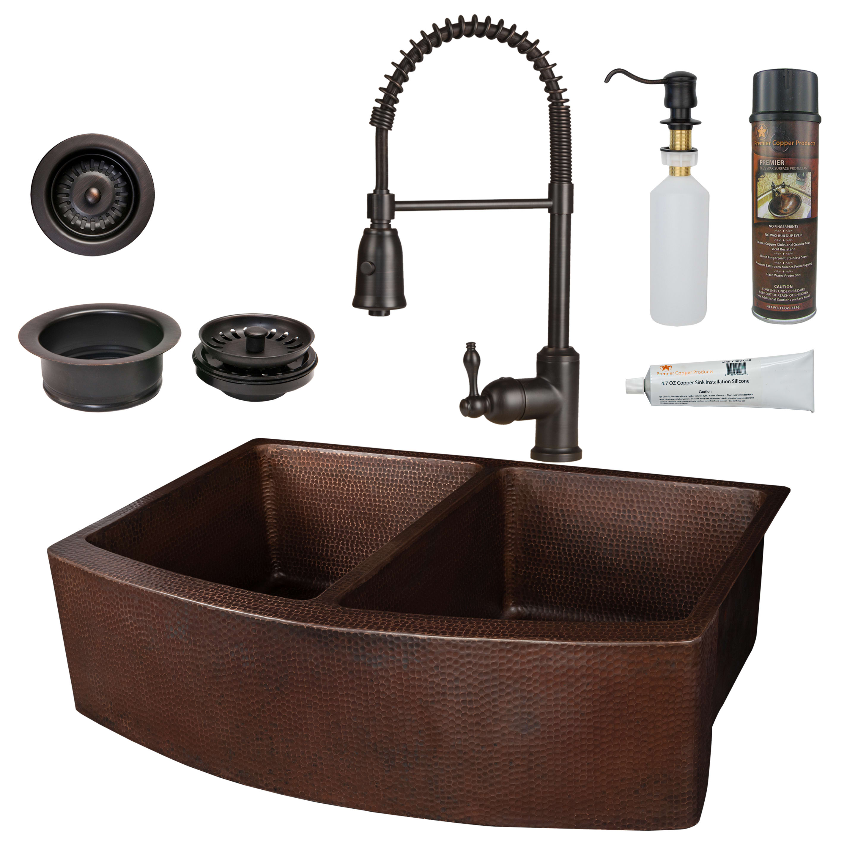 Oil Rubbed Bronze Farmhouse Sink.Premier Copper Products Ksp4 Ka50rdb33249