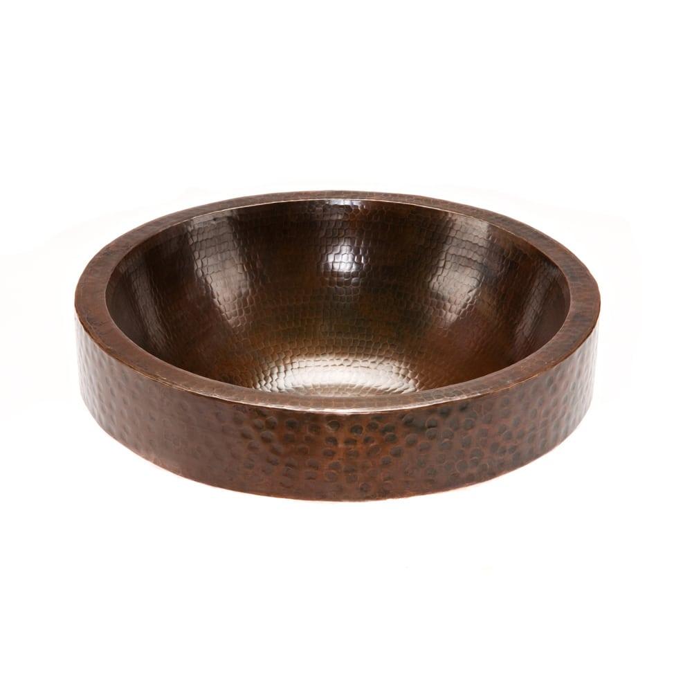 "Premier Copper Products VR17BDB 17/"" Large Round Vessel Hammered Copper Sink"