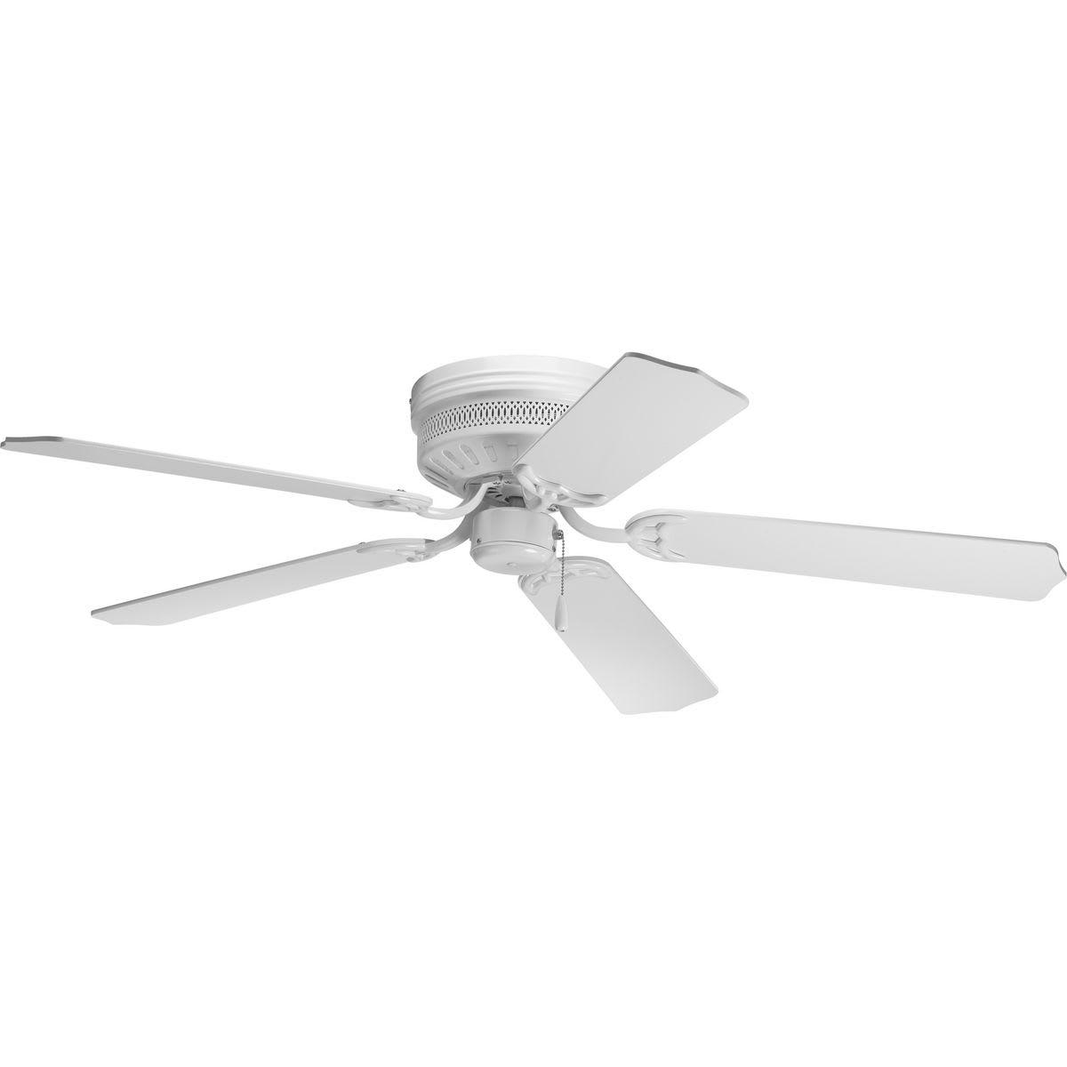 Progress Lighting P2525 30 White Hugger 52 5 Blade Flush Mount Ceiling Fan Blades Included Lightingdirect Com