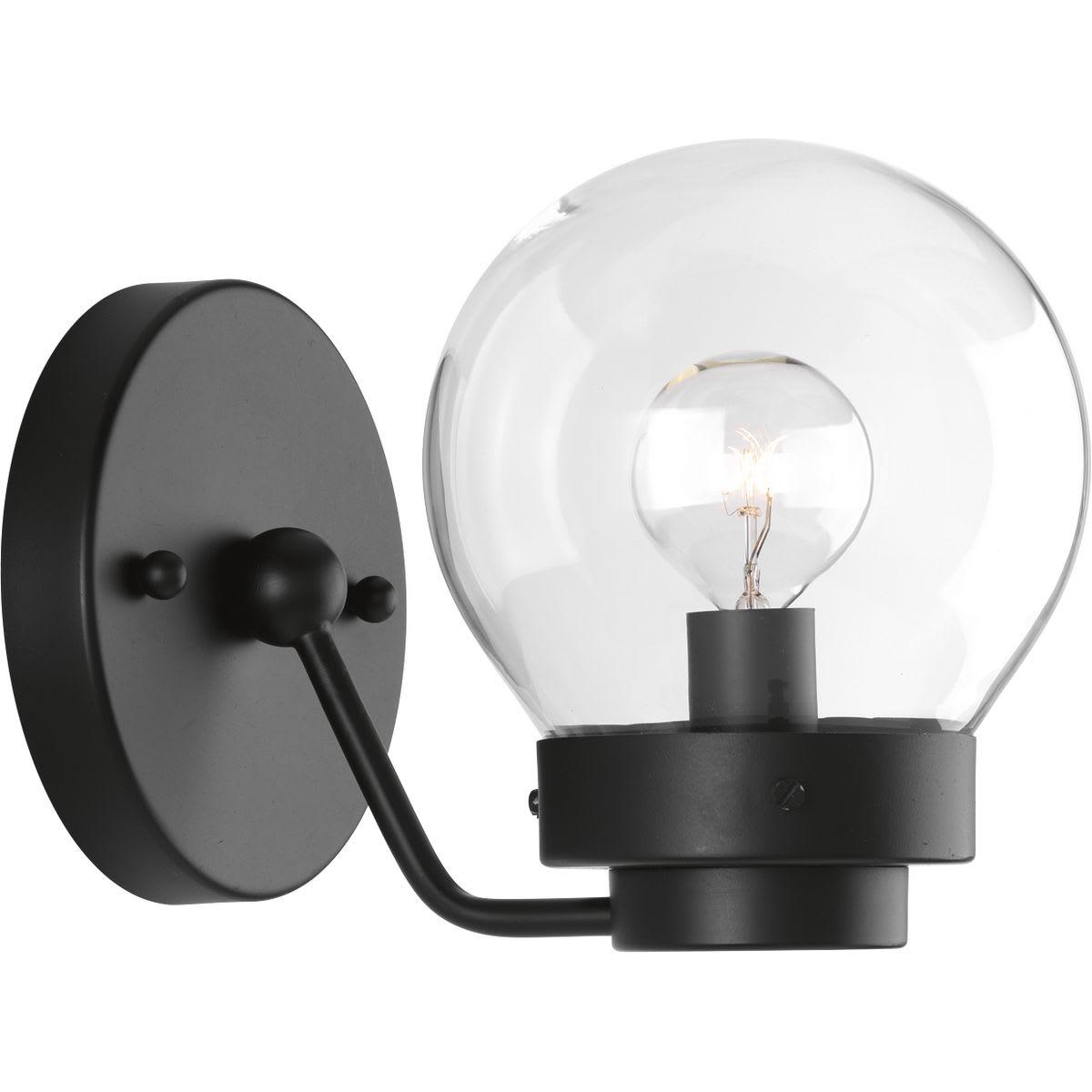 Image of: Progress Lighting P300112 031 Black Spatial Single Light 5 3 8 Wide Bathroom Sconce Faucet Com