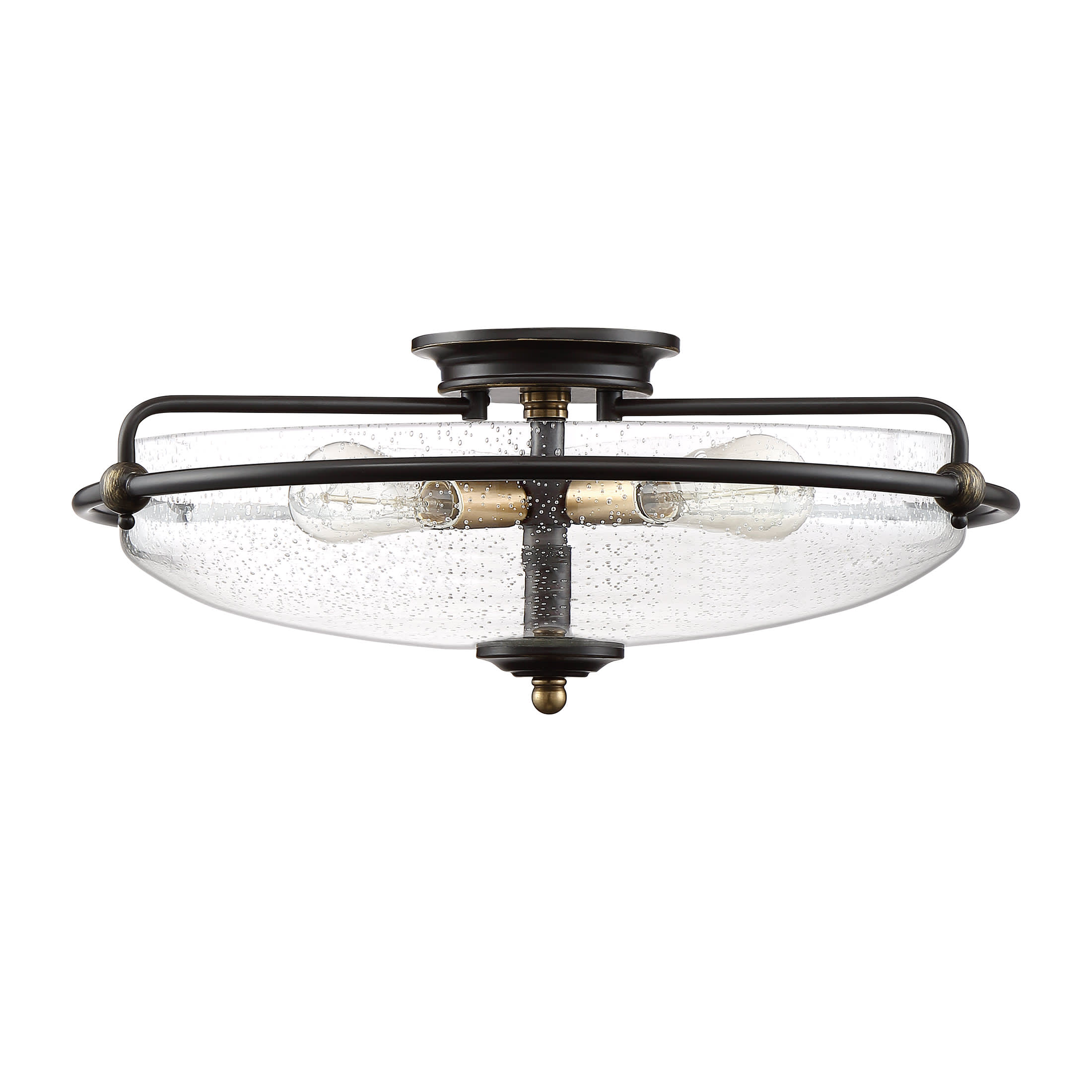 Quoizel Gfc1621pn Palladian Bronze Griffin 4 Light 21 Wide Flush Mount Bowl Ceiling Fixture With Seeded Glass Shade Lightingdirect Com