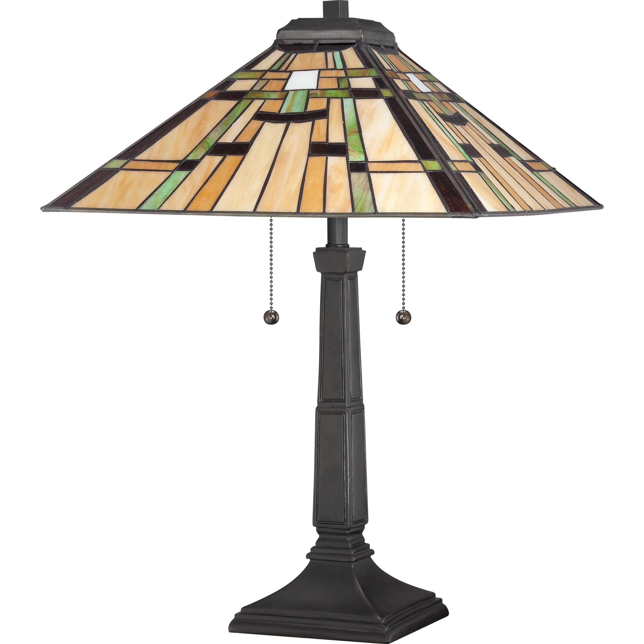 Quoizel Tf1612tvb Vintage Bronze Tiffany 2 Light 23 Tall Table Lamp With Tiffany Glass Shade Lightingshowplace Com