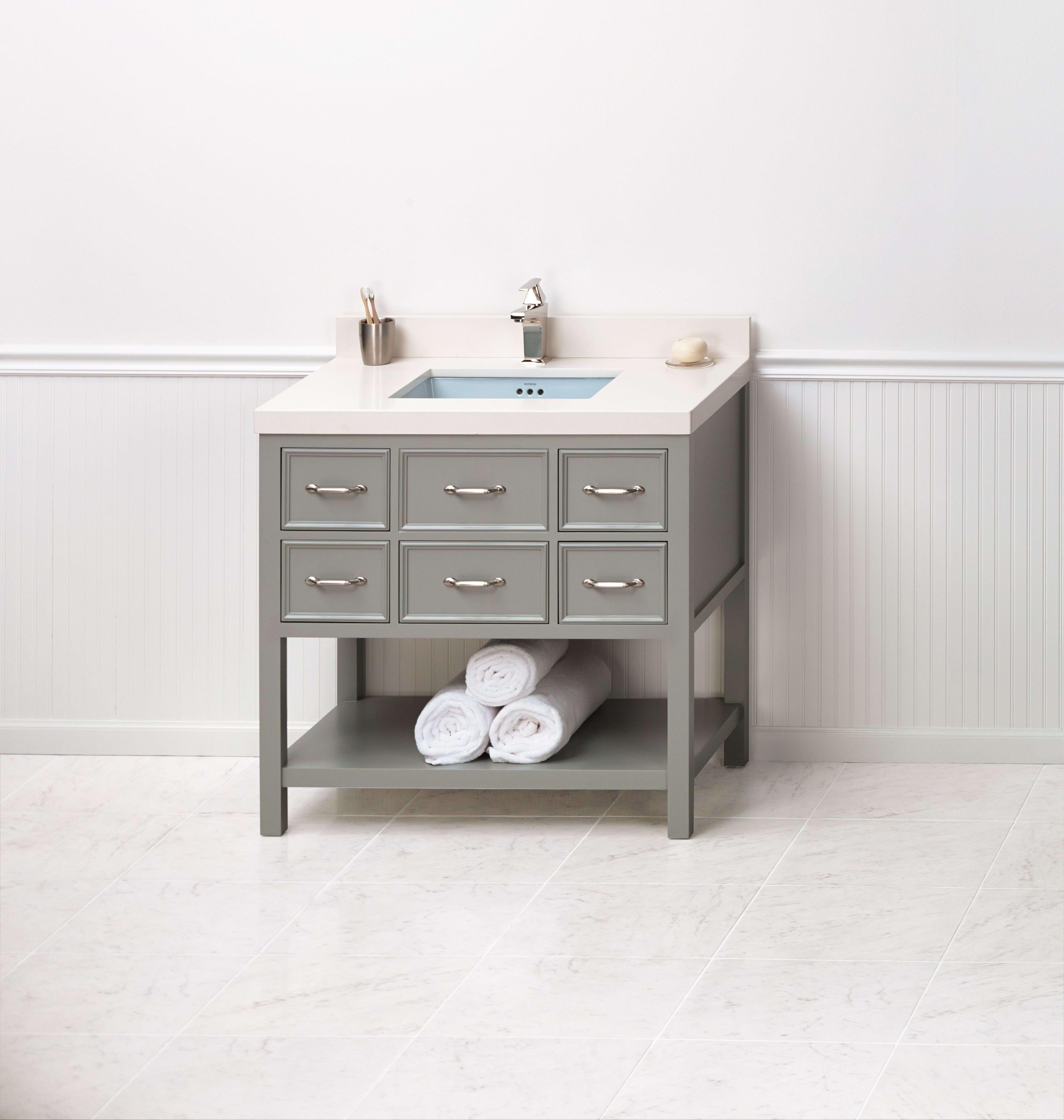ronbow square tapered ceramic dropin bathroom sink in white  - ronbow fkit ocean gray broad black quartz top  ronbow bathroom sinks