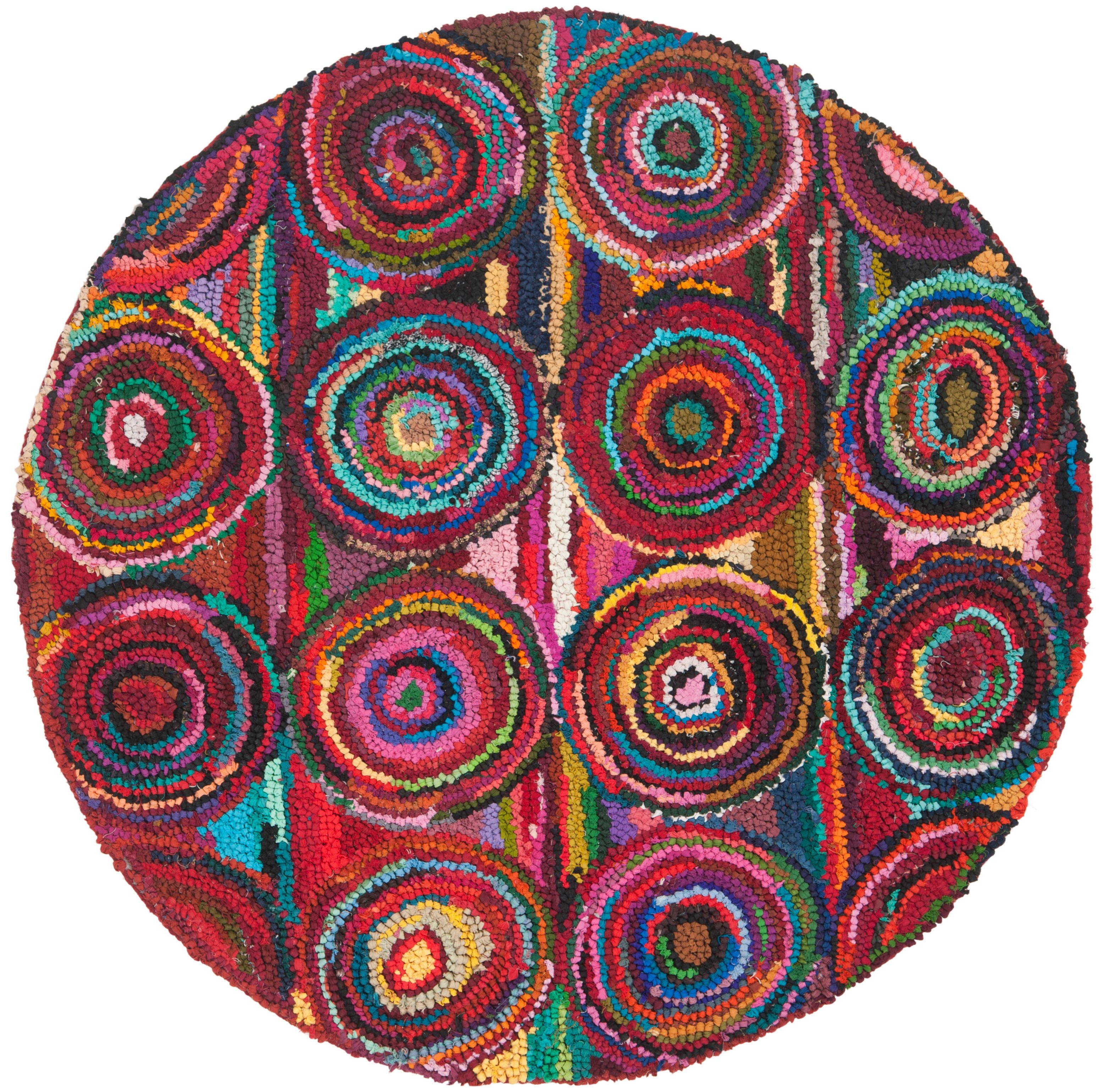 Safavieh Nan143a 4r Pink Multi Nantucket 4 Round Cotton Hand