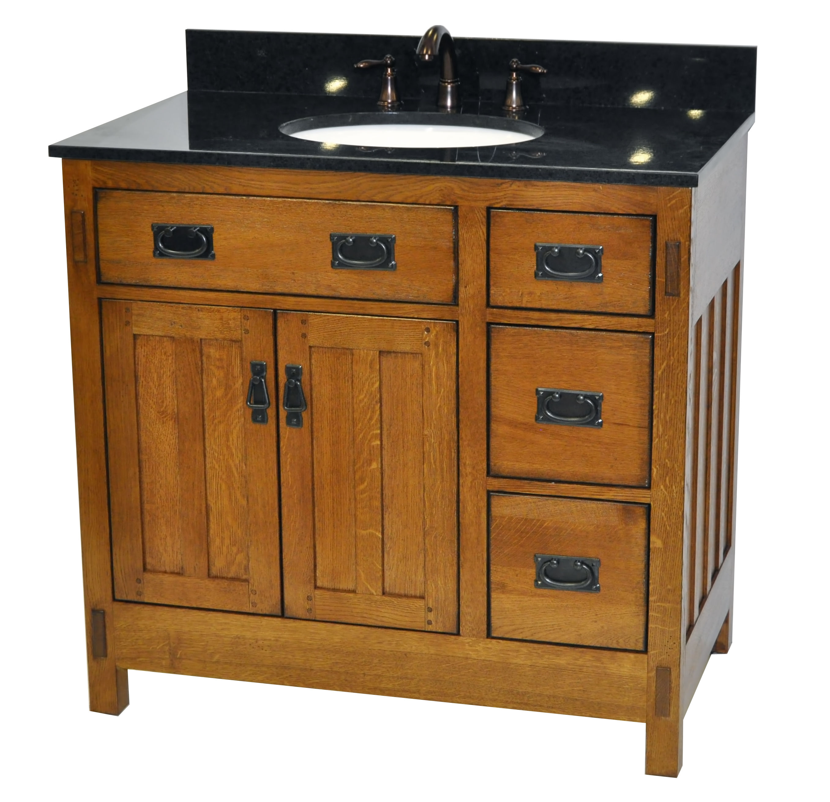 Sagehill Designs Ac3621dn Rustic Oak American Craftsman 36 Vanity Cabinet Only Faucet