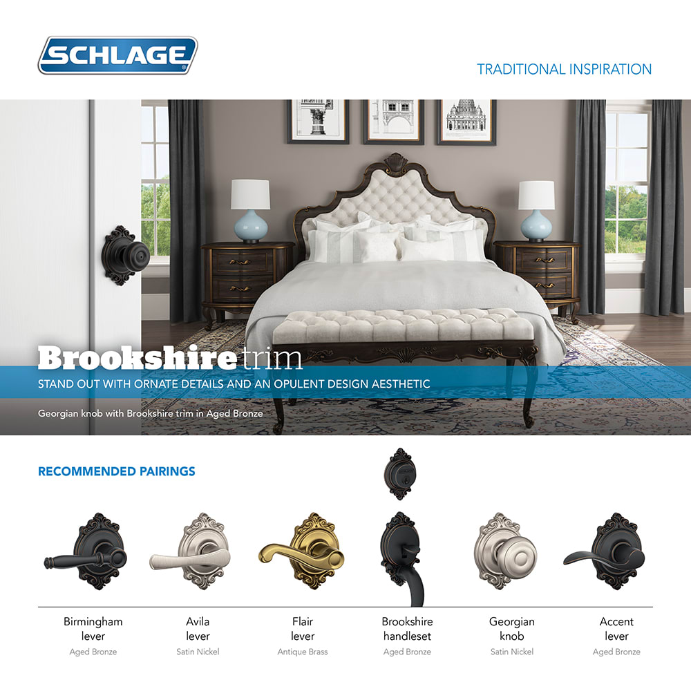 Schlage F40BIR619BRK Satin Nickel Birmingham Privacy Door Lever Set With  Decorative Brookshire Trim   Handlesets.com