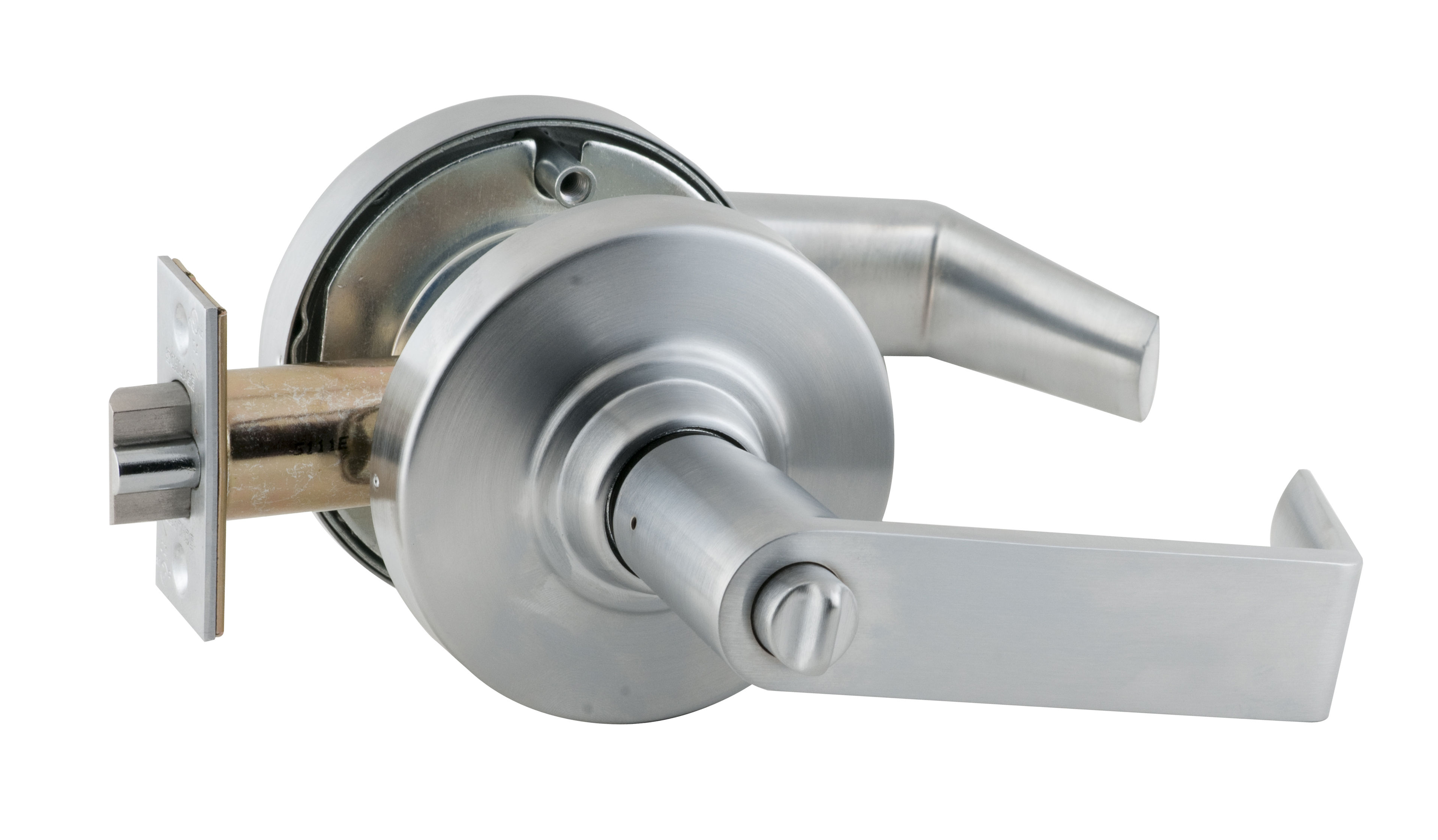 Schlage commercial ND53PDRHO619 ND Series Grade 1 Cylindrical Lock Rhodes Lever Design Entry Function Turn//Push-Button Locking Satin Nickel Finish