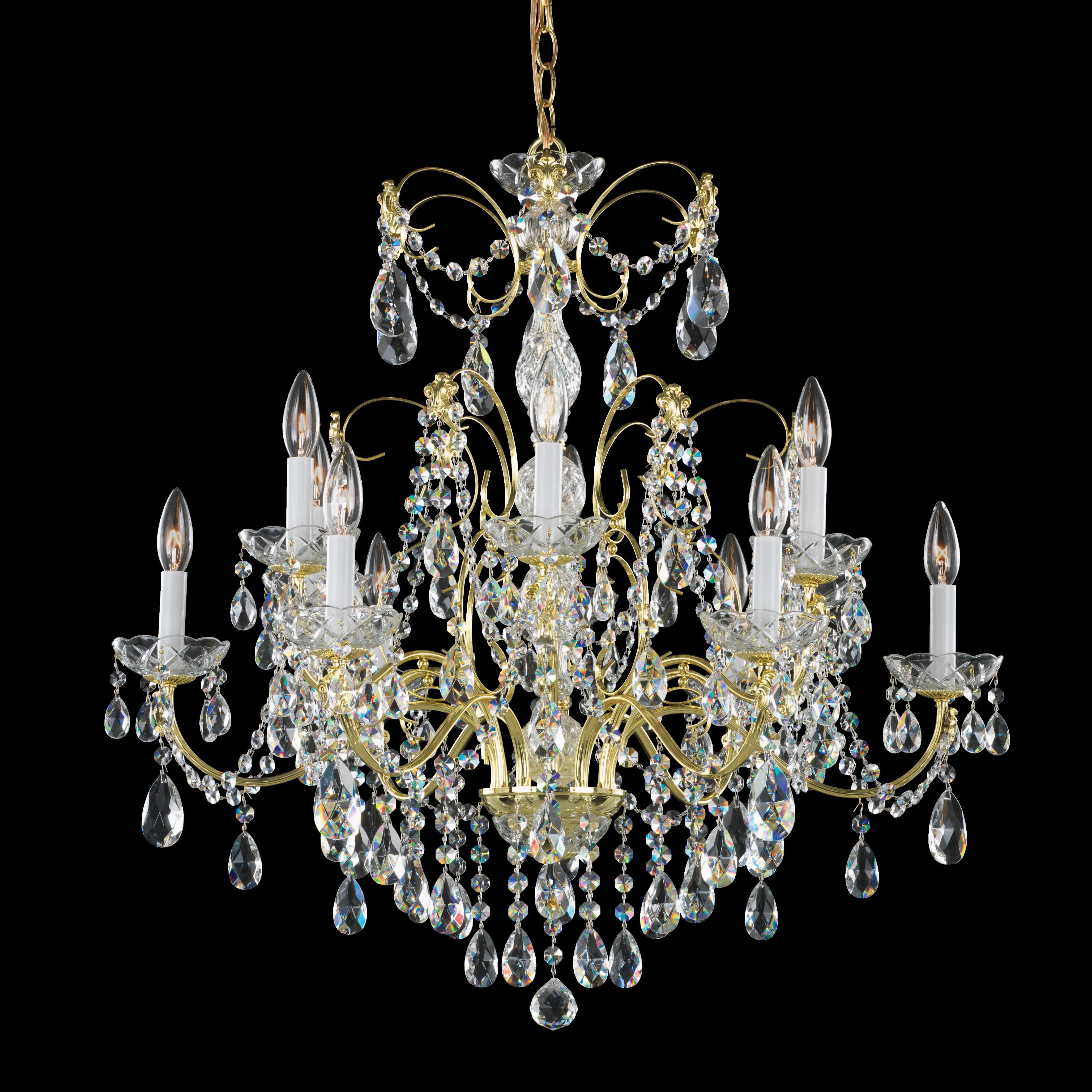 Schonbek 1596 23h Etruscan Gold Madison, Schonbek 12 Light Crystal Chandelier