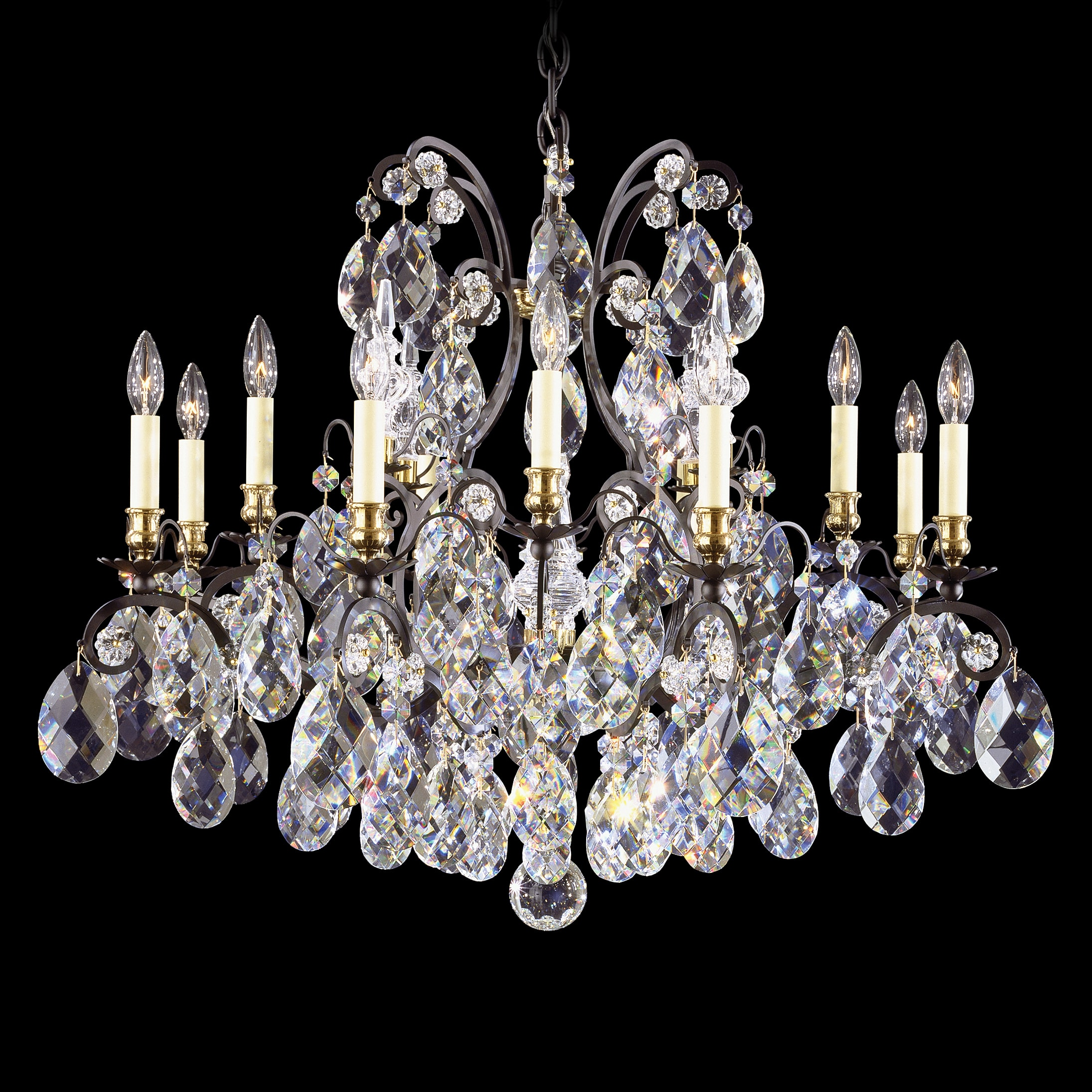 Schonbek 3790 51 Black Renaissance 13 Light 33 Wide Crystal Chandelier With Clear Swarovski Heritage Crystals Lightingshowplace Com