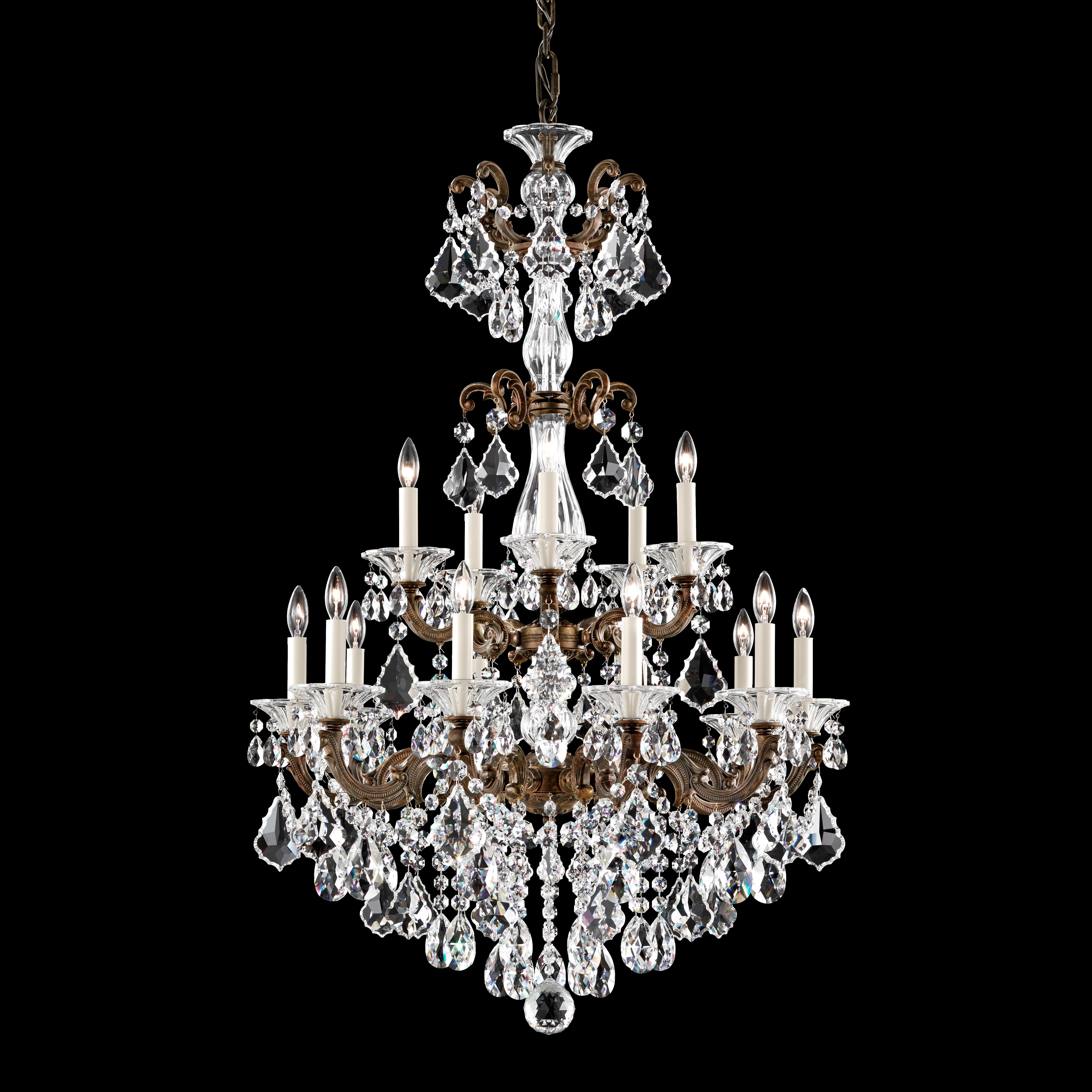 Schonbek 5010 76 Heirloom Bronze La Scala 15 Light 28 Wide Crystal Chandelier With Clear Swarovski Heritage Crystals Lightingshowplace Com