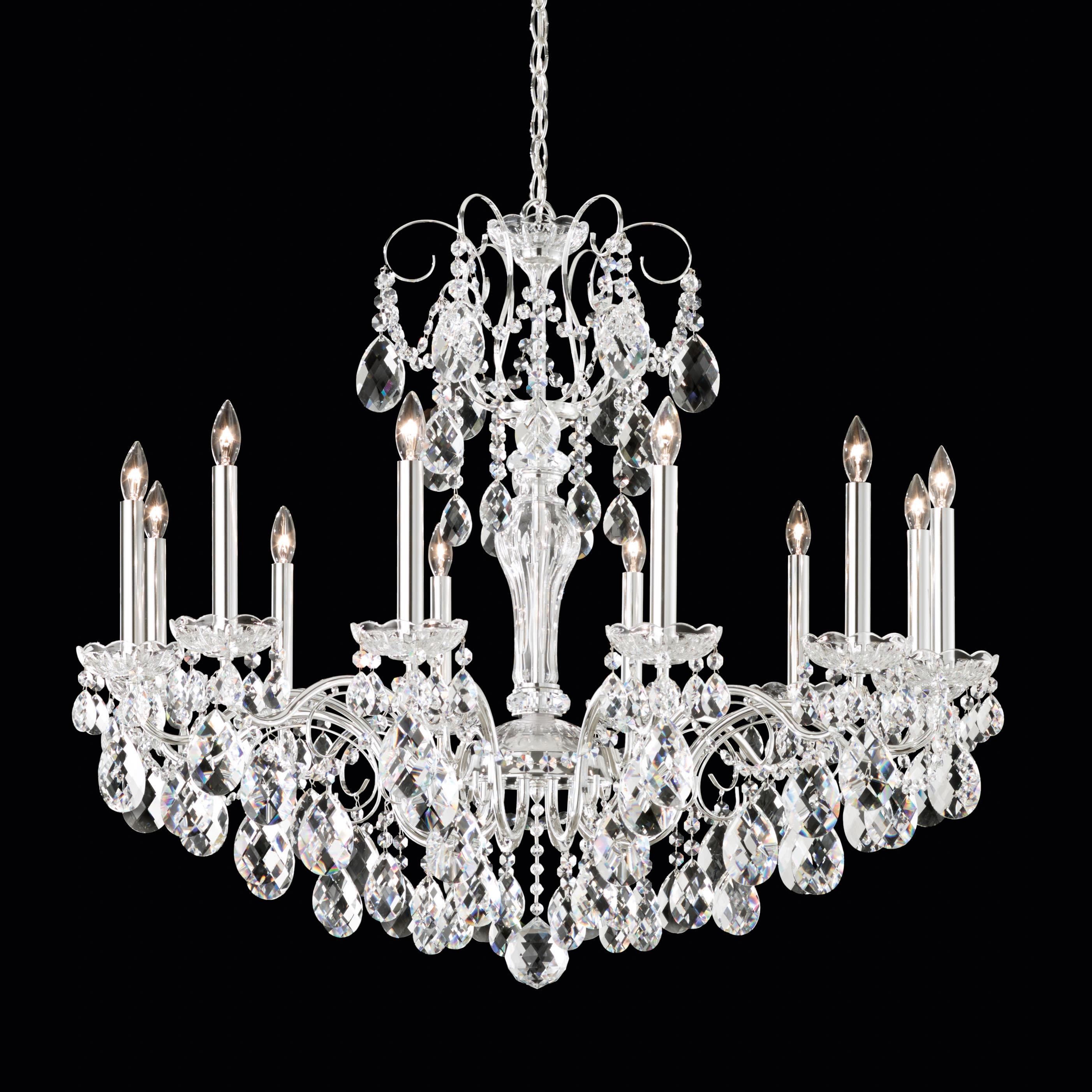 Wide Crystal Chandelier, Schonbek 12 Light Crystal Chandelier