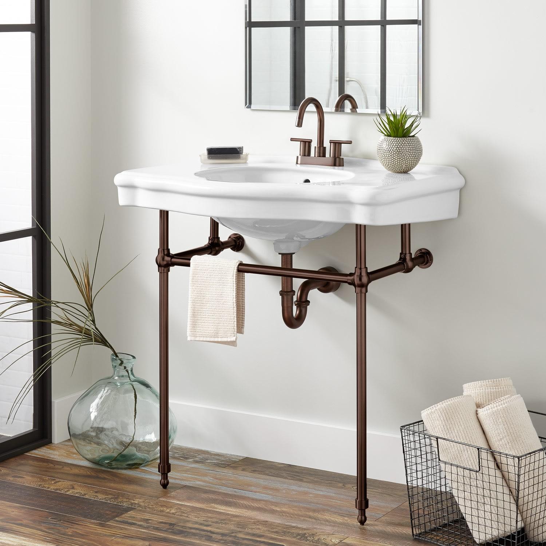 Signature Hardware 274434 Chrome Pennington 22 3 8 Porcelain Console Bathroom Sink With 3 Faucet Holes At 4 Centers Faucet Com