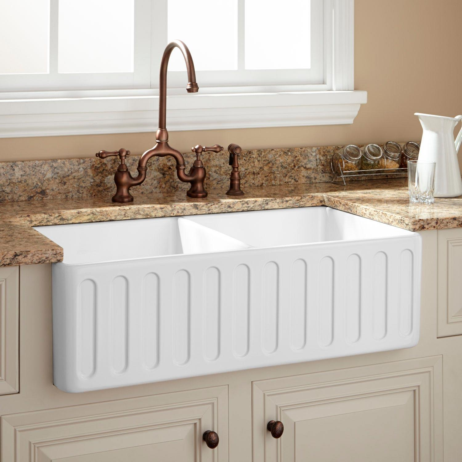 Farmhouse Sink.Signature Hardware 400558 White Northing 33 Double Basin Fireclay