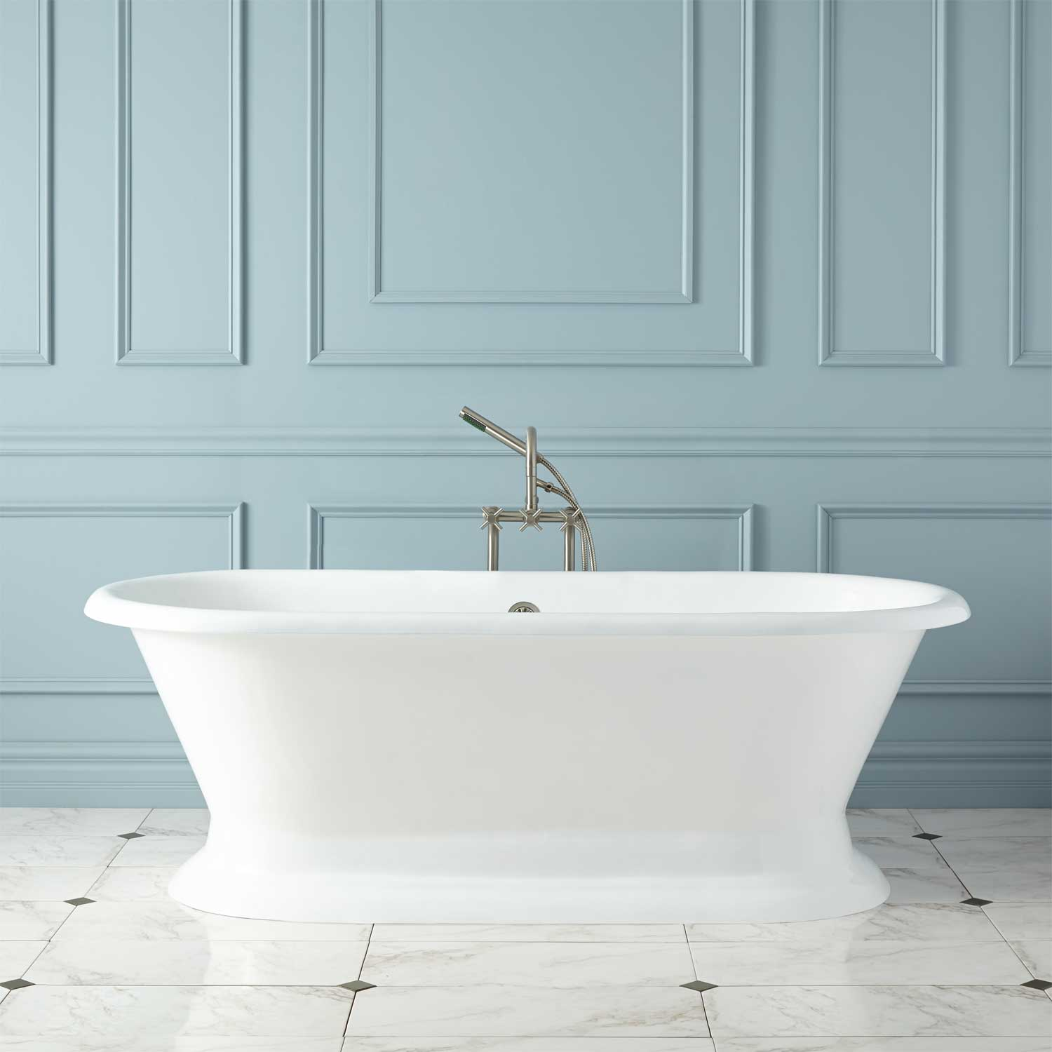 Picture of: Signature Hardware 412623 White Scarlett 72 Cast Iron Double Ended Pedestal Tub With Rolled Rim Faucet Com