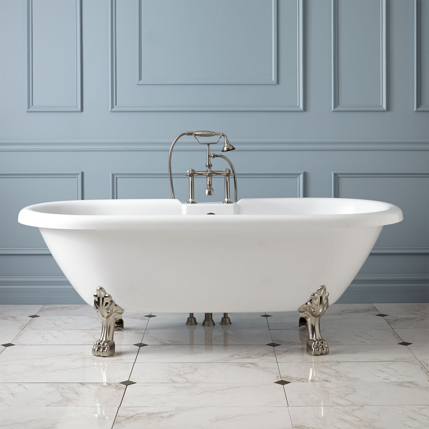 Picture of: Signature Hardware 422189 White Brushed Nickel Feet Audrey 59 Acrylic Clawfoot Tub With Lion Paw Feet And 7 Rim Holes Faucet Com