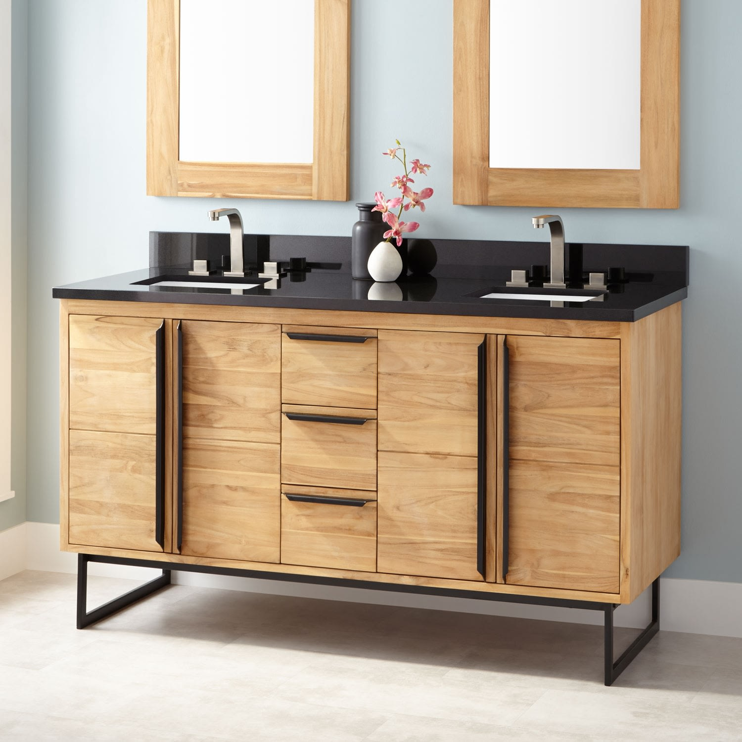 Signature Hardware 422689 Natural Teak Cael 60 Teak Wood Double Vanity Cabinet Choose Your Vanity Top And Sink Configuration Faucet Com