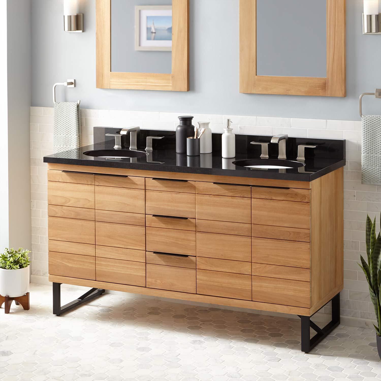 Signature Hardware 429901 Natural Teak Pfeiffer 60 Teak Wood Double Vanity Cabinet Choose Your Vanity Top And Sink Configuration Faucet Com