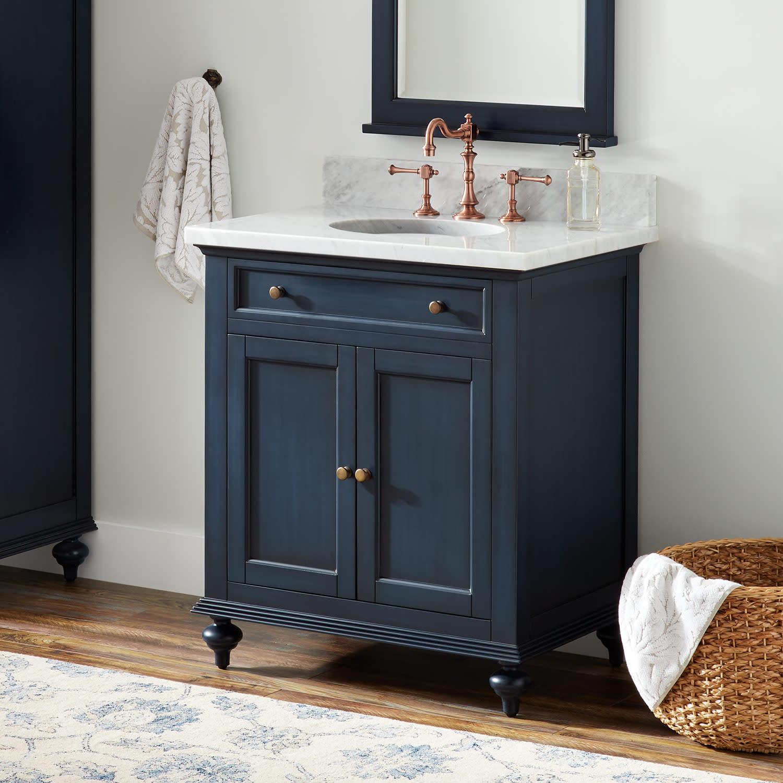Signature Hardware 433836 Vintage Navy Blue Keller 30 Mahogany Wood Single Vanity Cabinet Choose Your Vanity Top And Sink Configuration Faucet Com