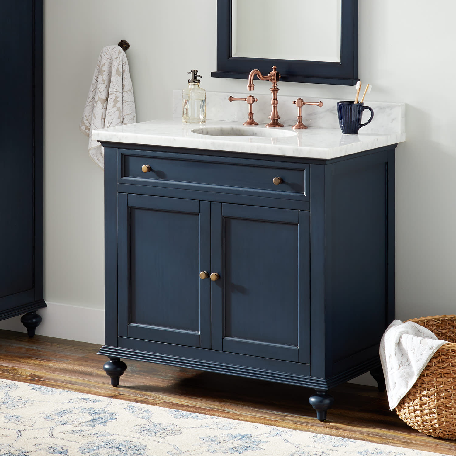 Signature Hardware 433849 Vintage Navy Blue Keller 36 Mahogany Wood Single Vanity Cabinet Choose Your Vanity Top And Sink Configuration Faucet Com