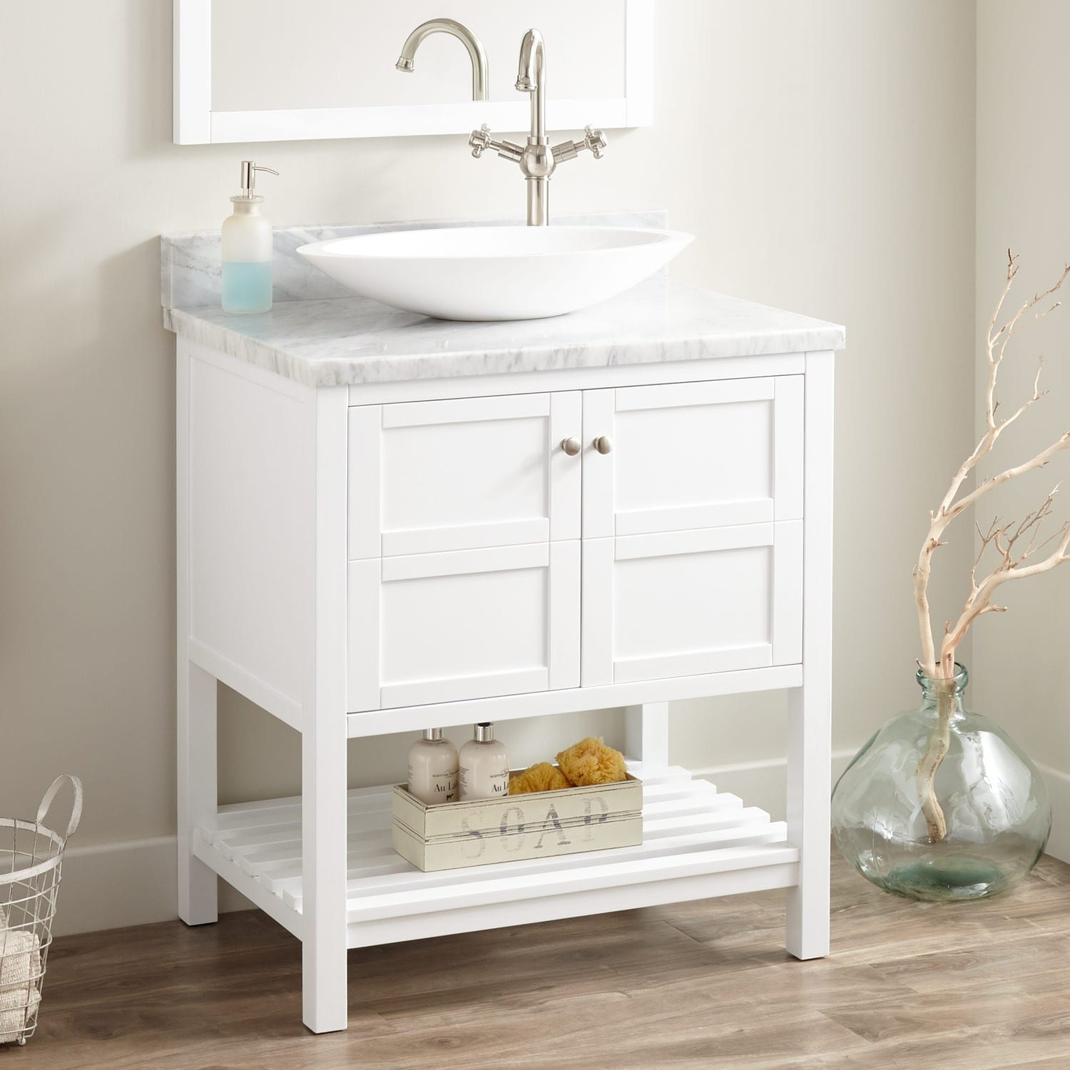 Signature Hardware 435049 White Carrara Marble Everett 30 Single Vanity Set With Solid Wood Cabinet And Marble Vanity Top Right Side Faucet Hole Faucet Com