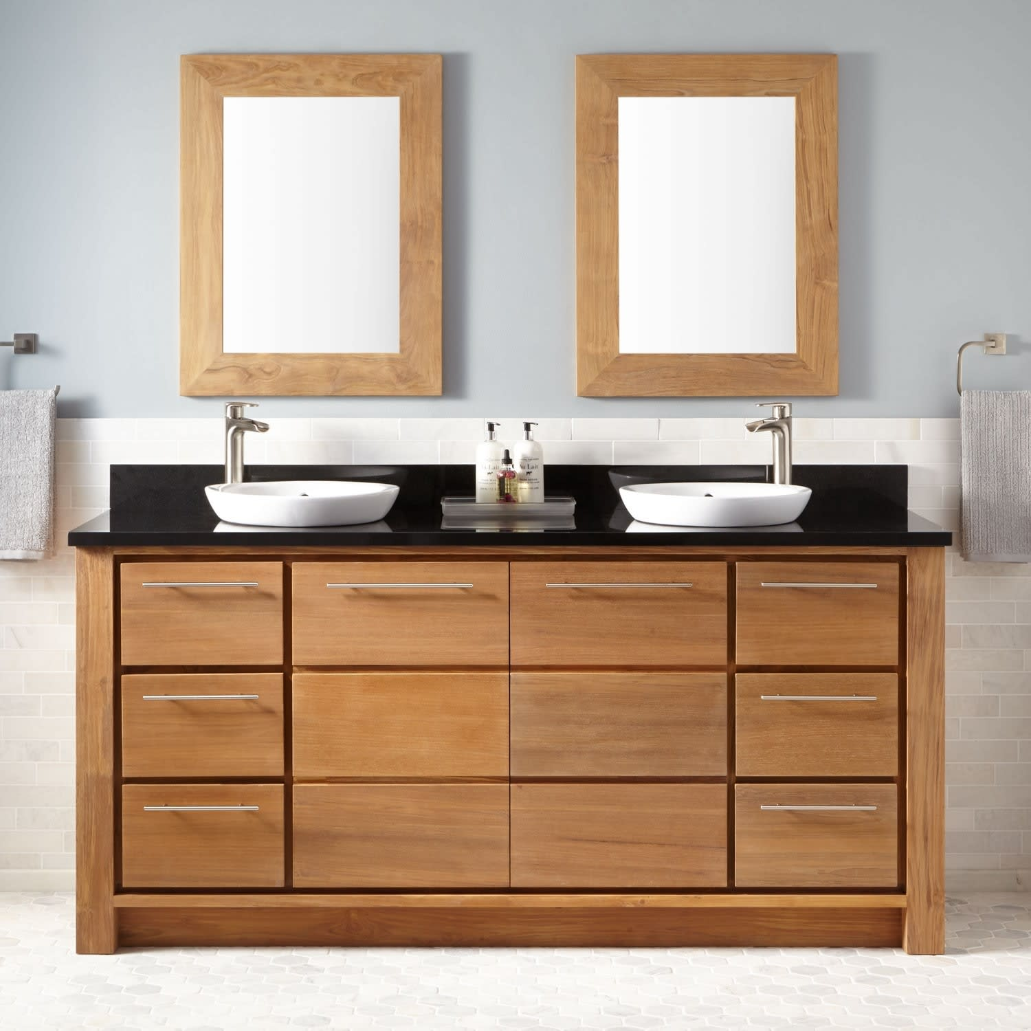 Signature Hardware 435319 Natural Wood Absolute Black Granite Venica 72 Double Vanity Set With Teak Cabinet Granite Vanity Top And Semi Recessed Sinks Faucet Com
