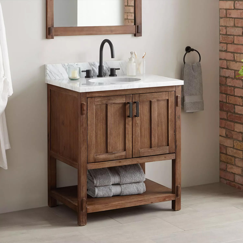 Signature Hardware 438510 Rustic Brown Morris 30 Wood Single Vanity Cabinet Choose Your Vanity Top And Sink Configuration Faucet Com