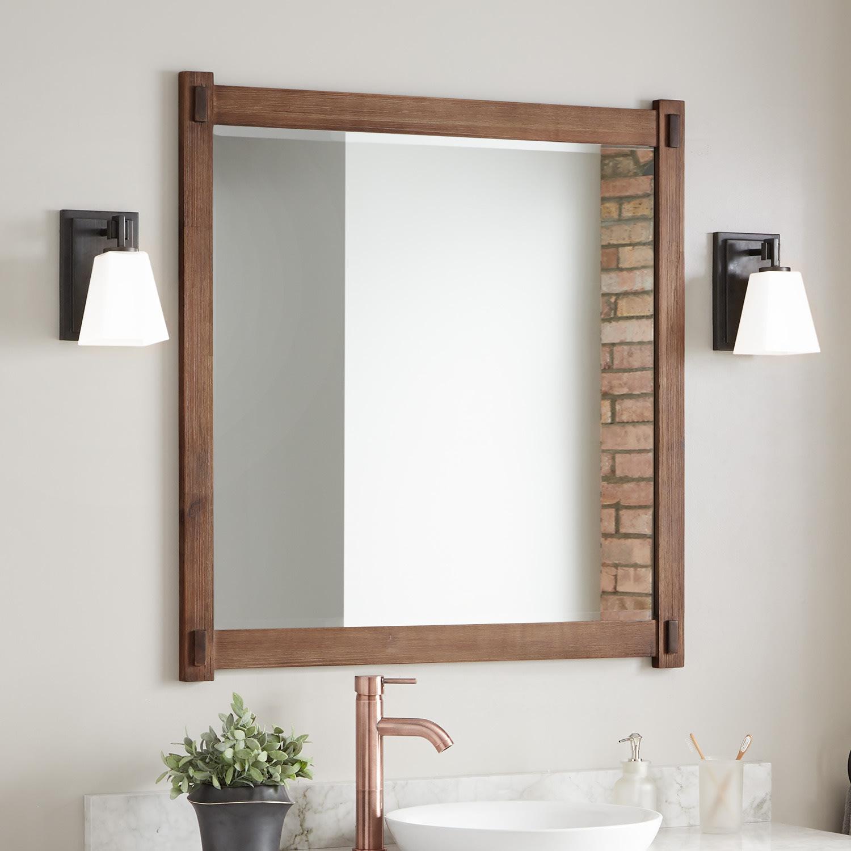 Signature Hardware 438516 Rustic Brown Morris 38 X 36 Framed Bathroom Mirror Faucetdirect Com